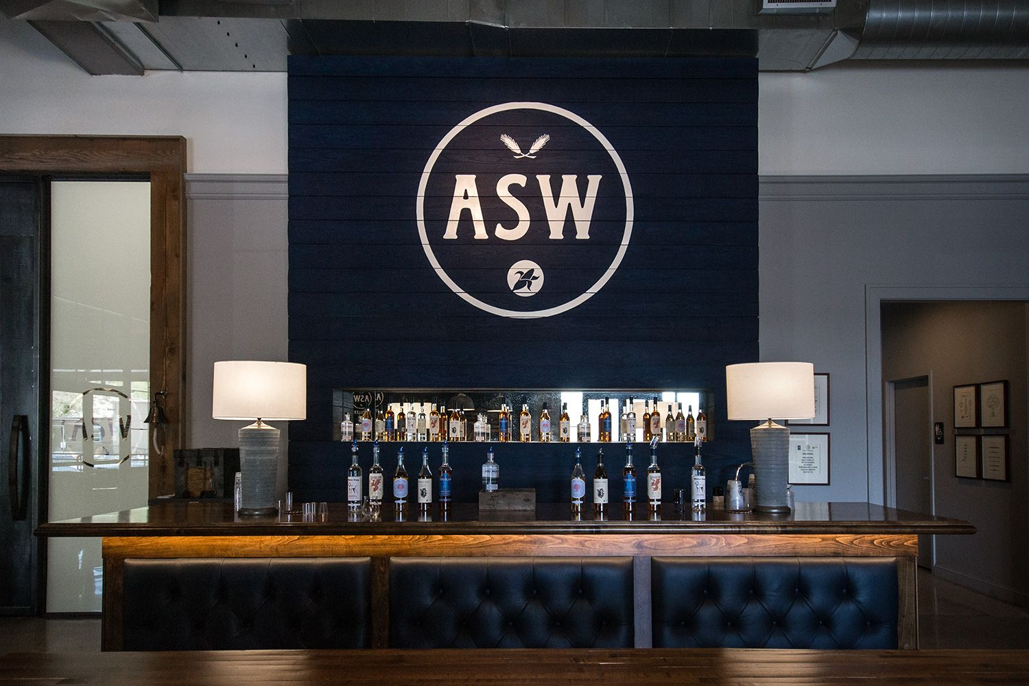 The tasting bar inside the ASW distillery.