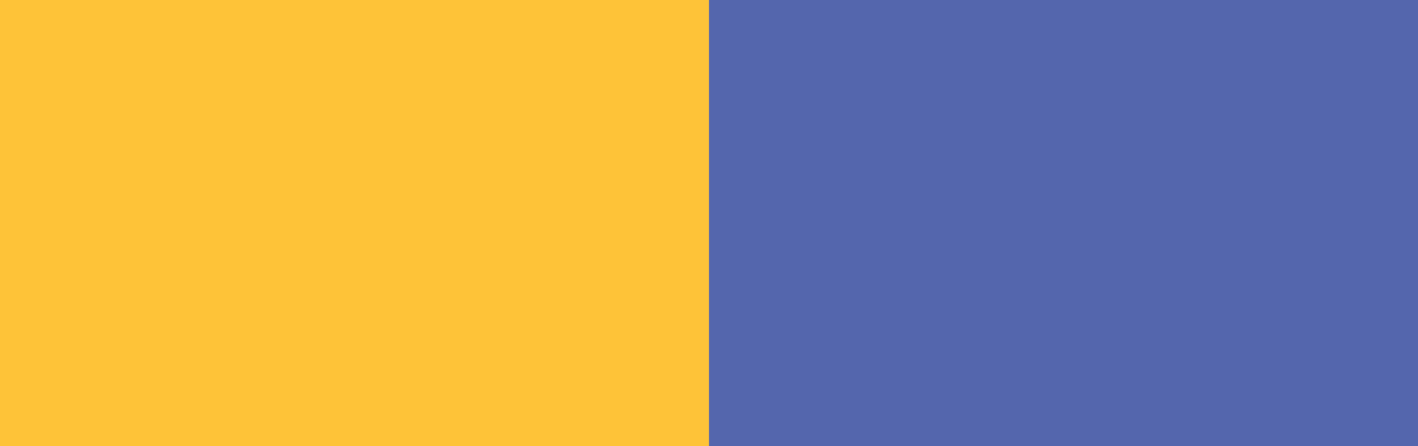 Two contrasting colors of different color families.