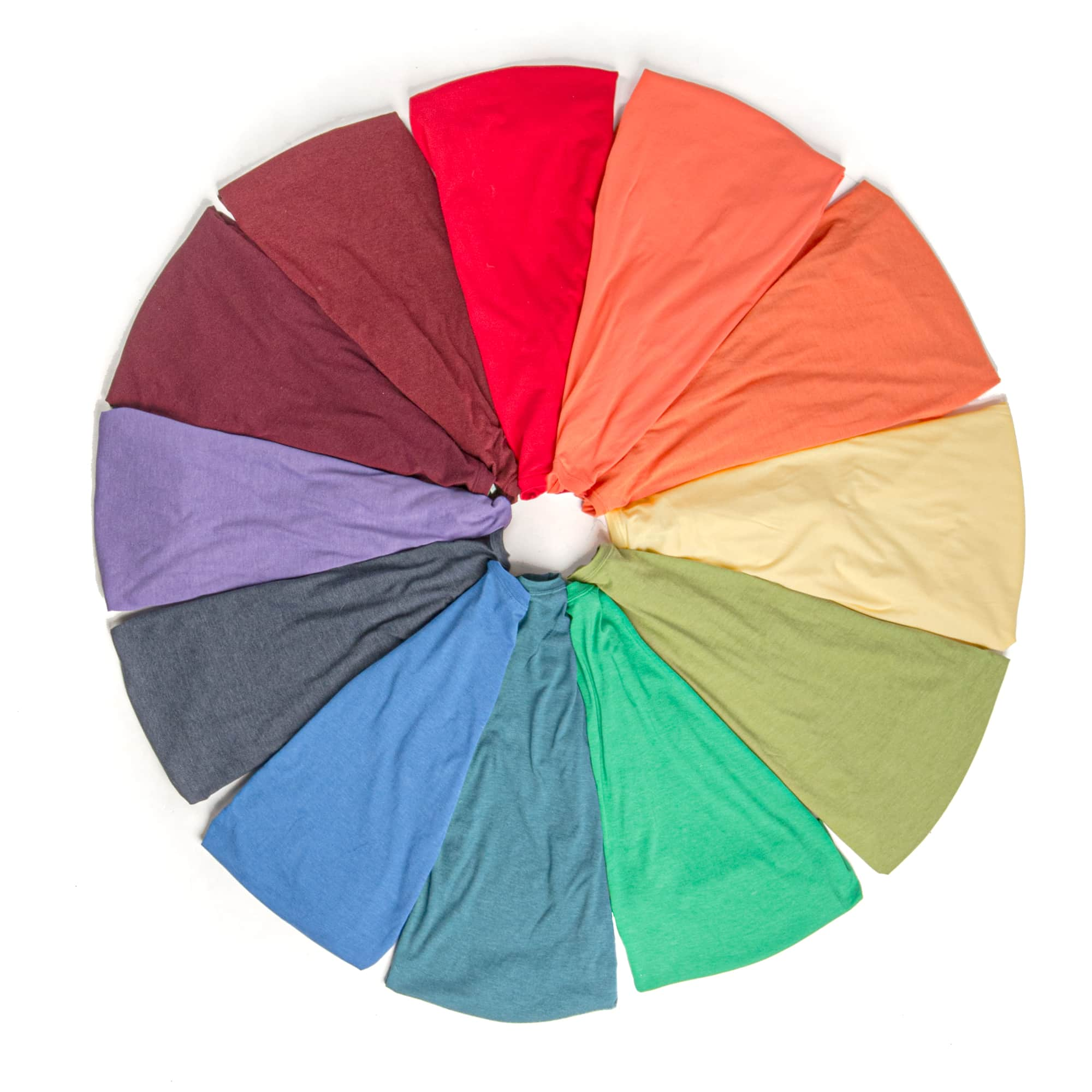A color wheel made up of various folded t-shirts.
