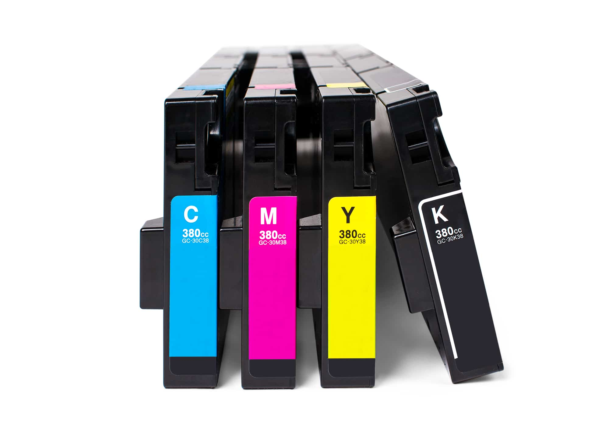 The four CMYK ink cartridges used in direct-to-garment printers.