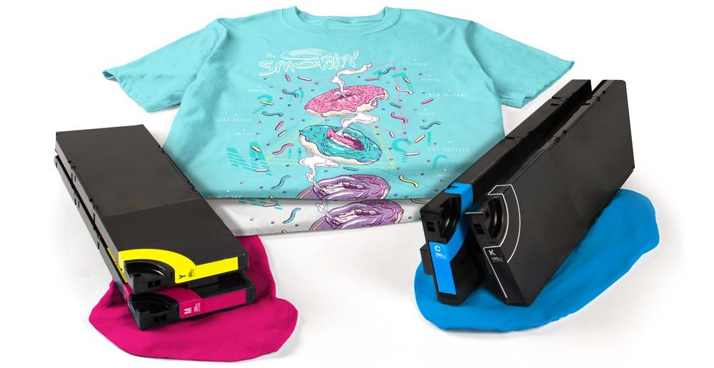 Two digitally printed t-shirts displayed with CMYK ink cartridges.