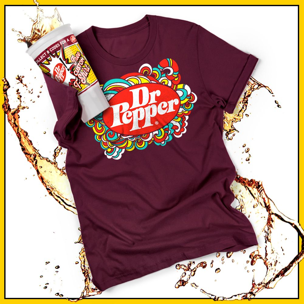 A Dr Pepper t-shirt design display.