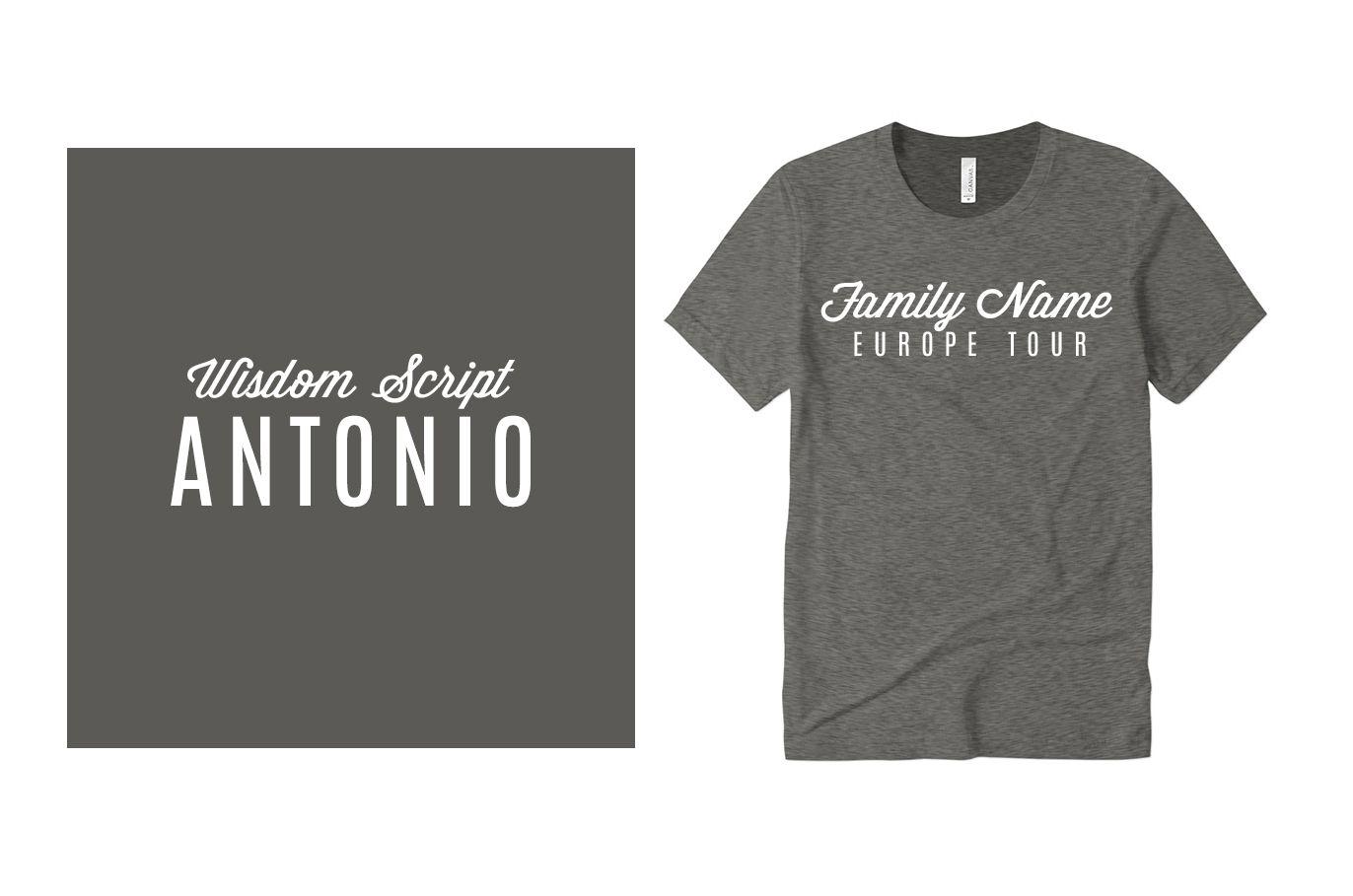 Example font pairing of Wisdom Script and Antonio.