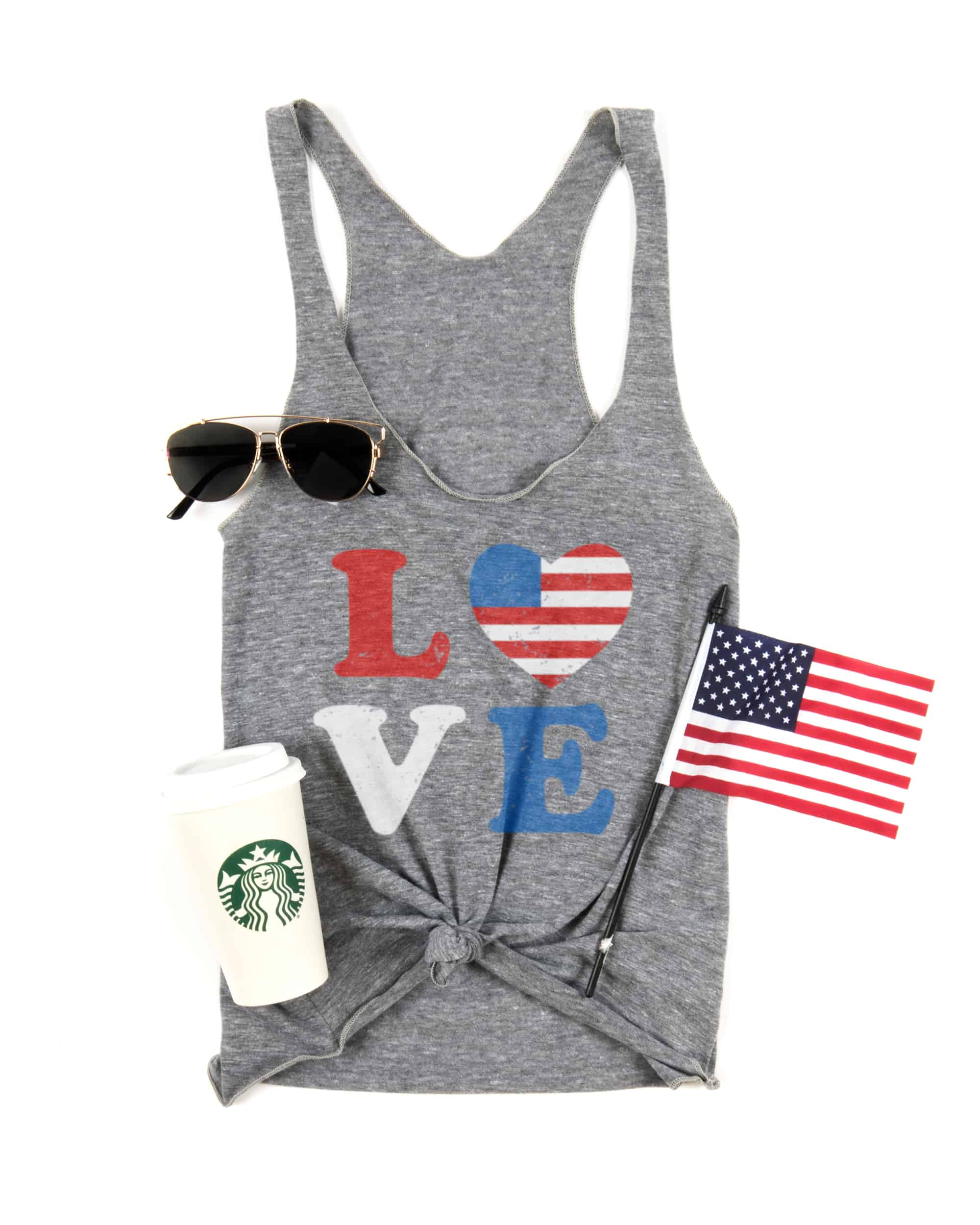 An example Fourth Of July themed t-shirt design on a ladies tank top.