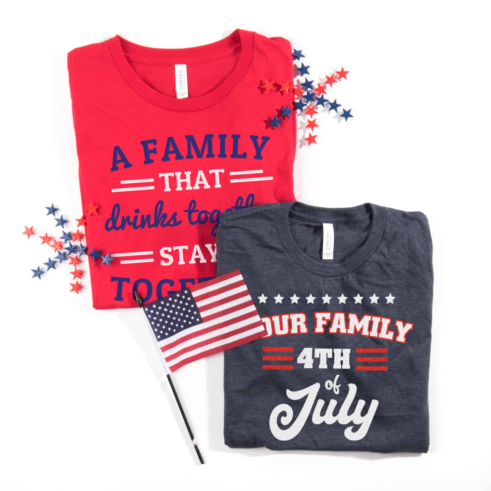 Examples of Fourth Of July themed t-shirts for a family.