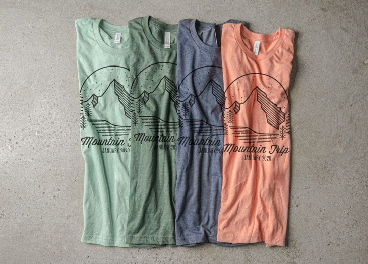 The riverside color pallet displayed as four different t-shirt colors with a monochromatic t-shirt design.