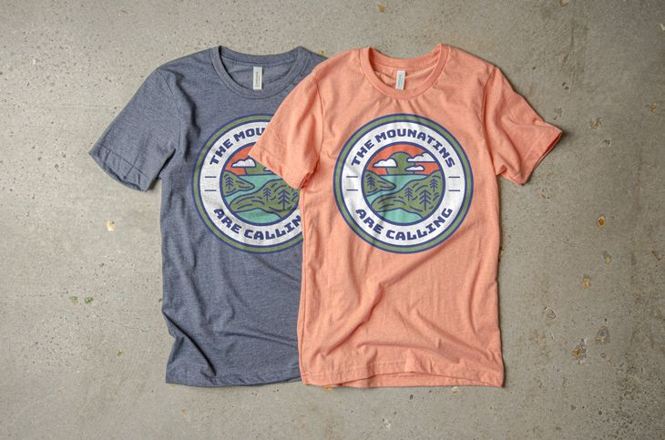 Two variations on the same t-shirt design using the riverside color pallet.