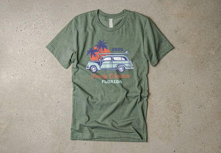 A family vacation t-shirt design made using the riverside color pallet.