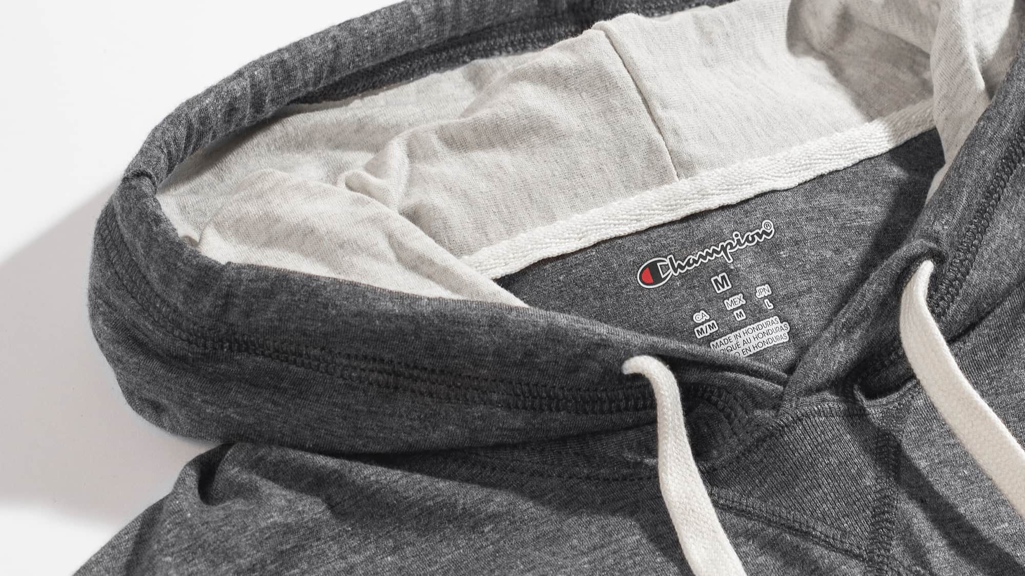 A detail shot of a Champion brand hoodie.