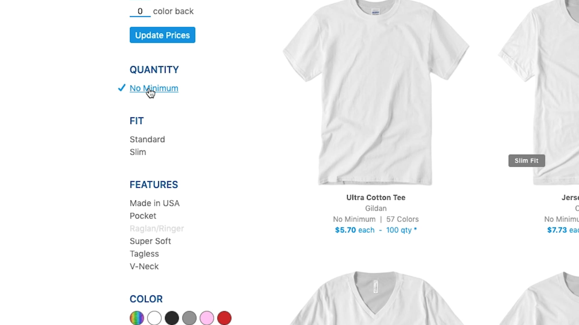 A screen shot of how to use the filters within the UberPrints product catalog.