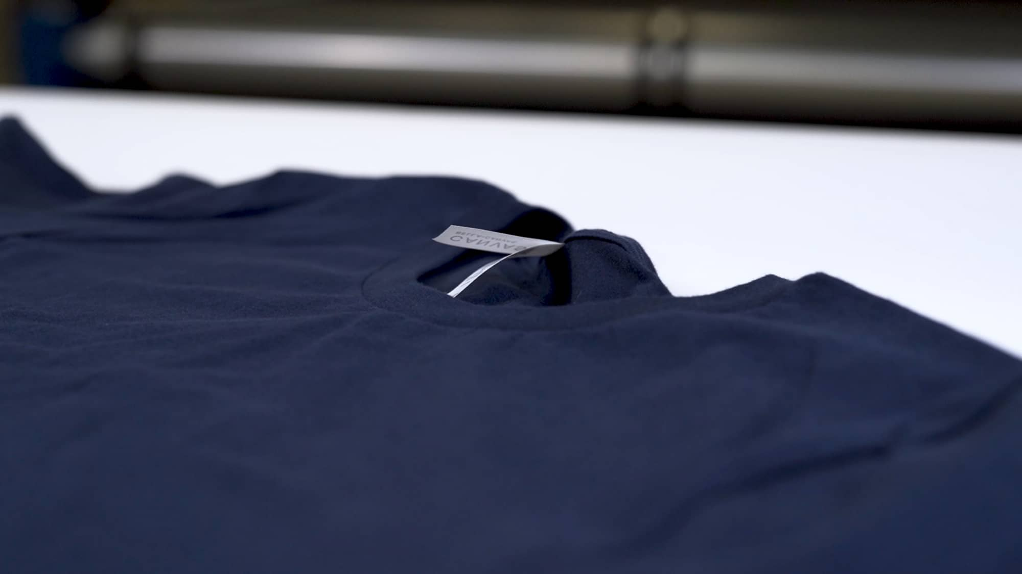 Up close view of t-shirt fabric.