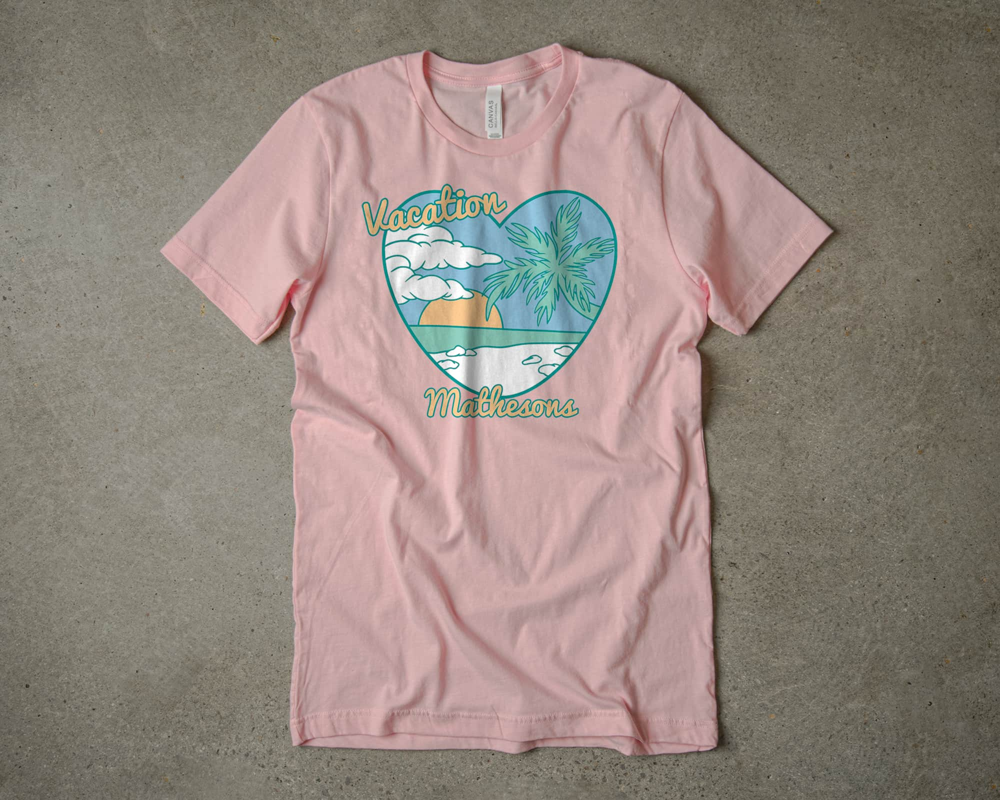 A vacation themed t-shirt design made using our pretty pastel color pallet.