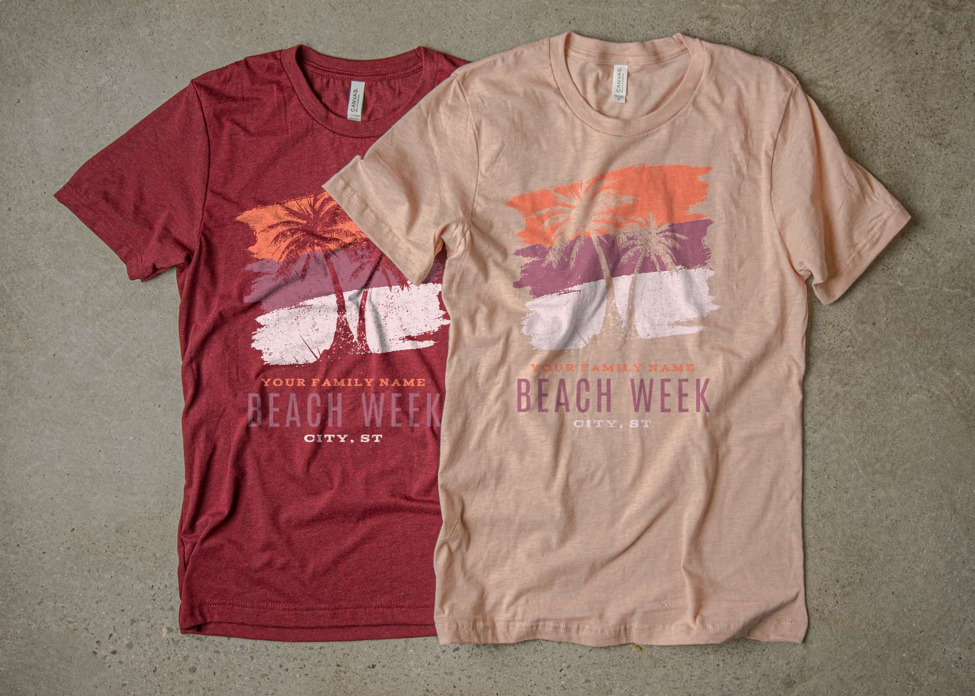 Two family beach vacation t-shirt designs made using this color scheme.