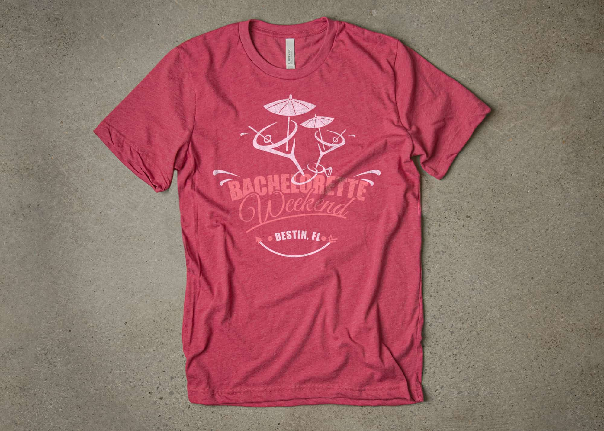 A bachelorette party t-shirt design made using the strawberries and cream color pallet.