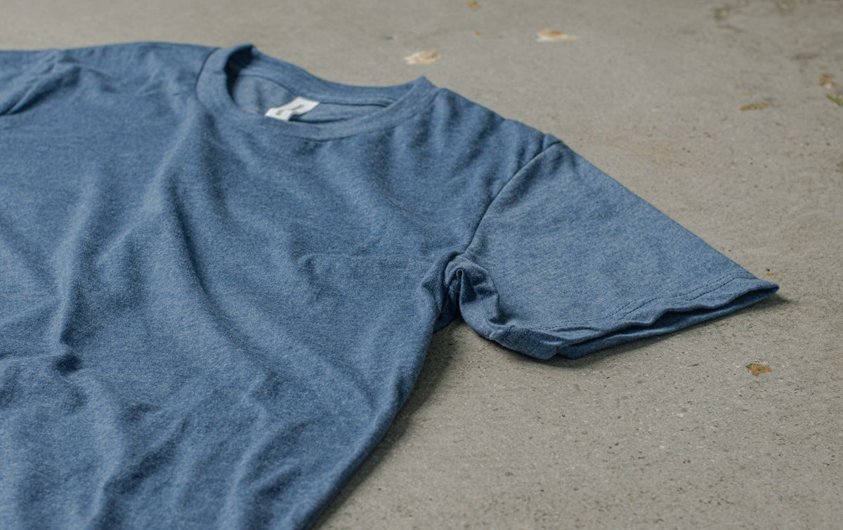 A detail image showing the soft fabric of the Sueded Tee.