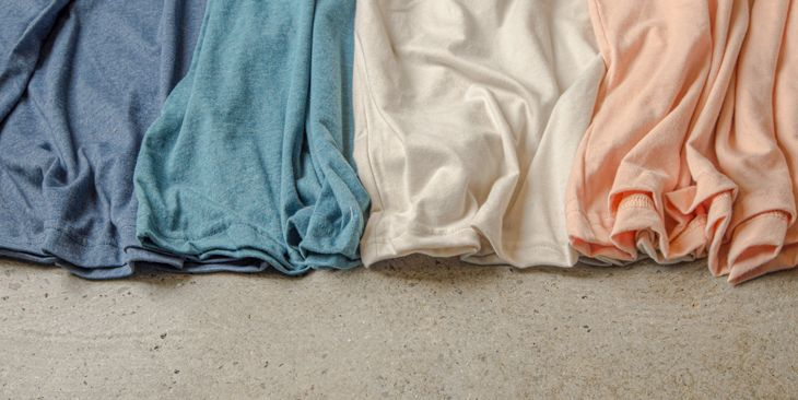 A complementary color pallet made with various t-shirt colors from the Sueded Tee.