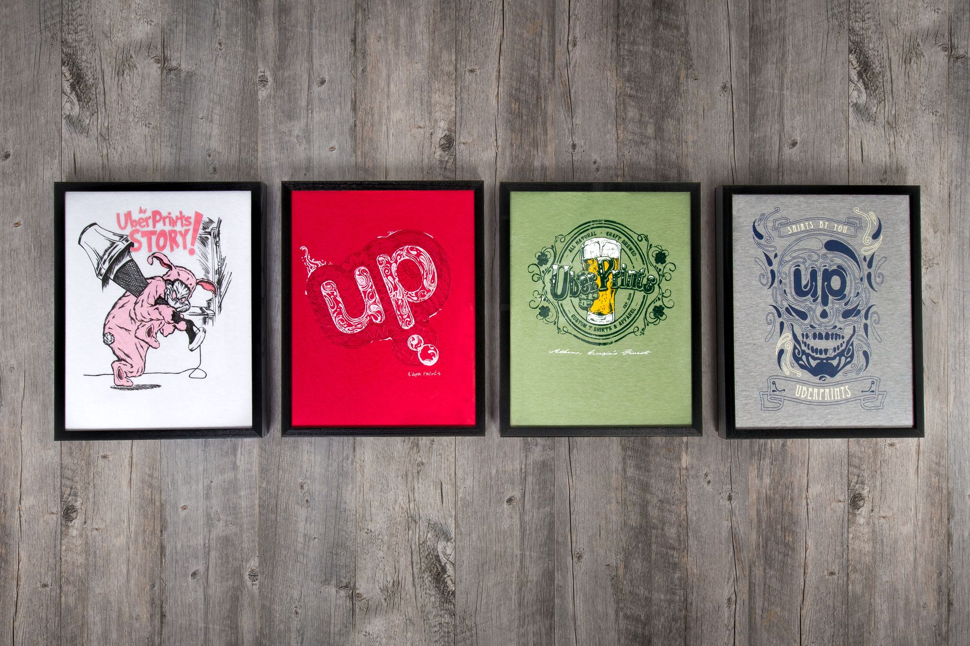 Four t-shirt designs made by Tommie.