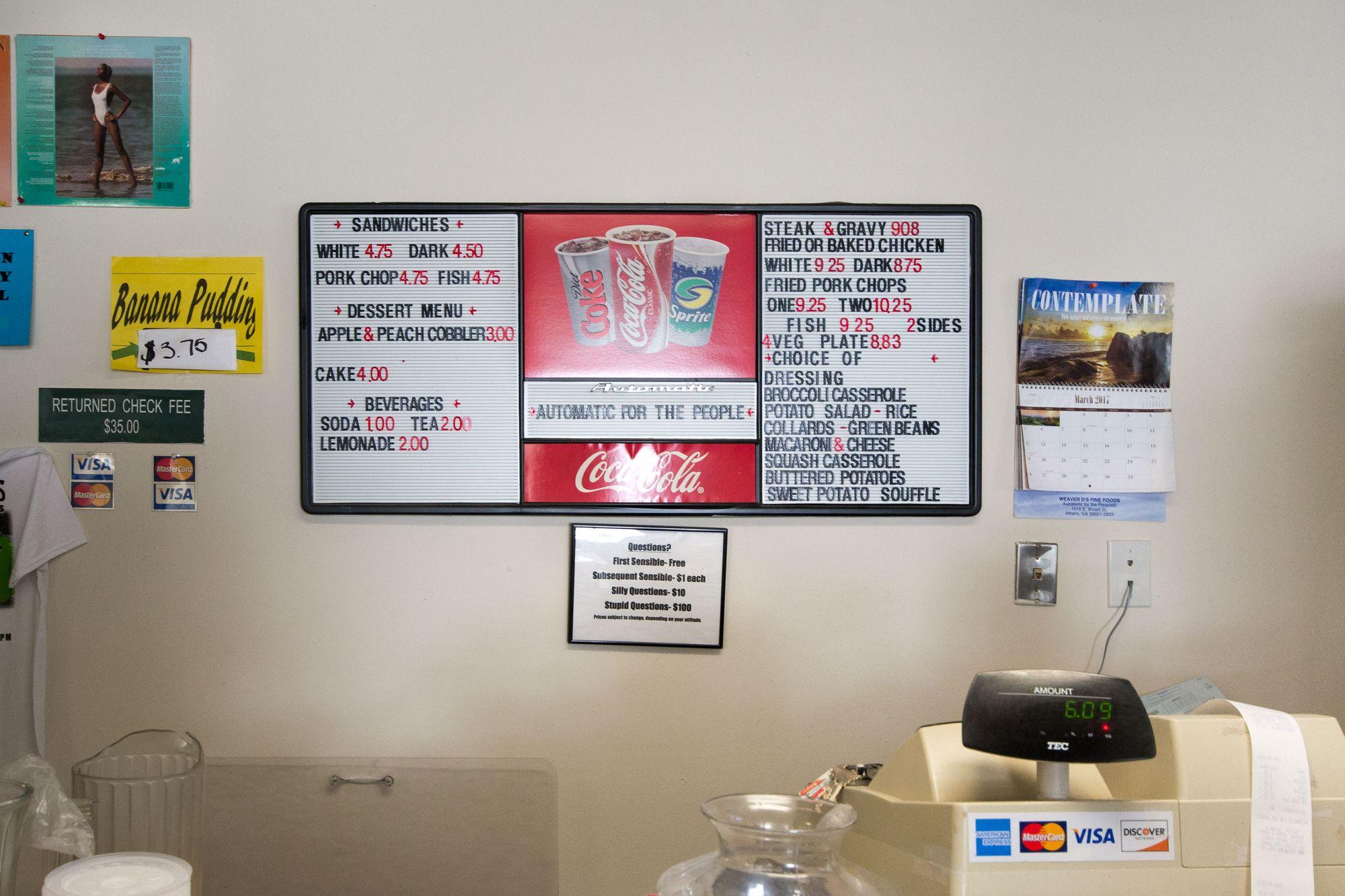 The Weaver D's menu.