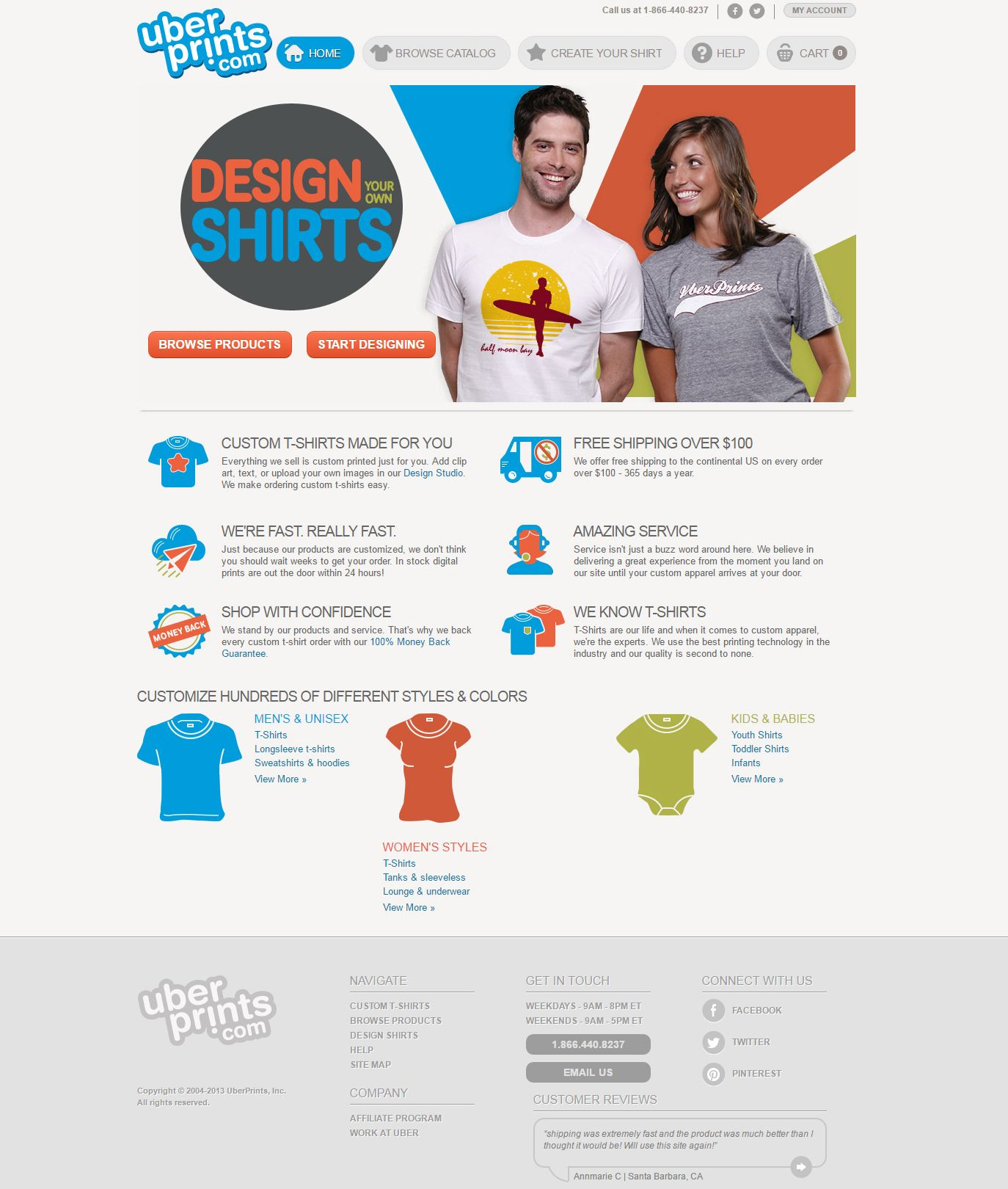 The old look of the UberPrints website design.