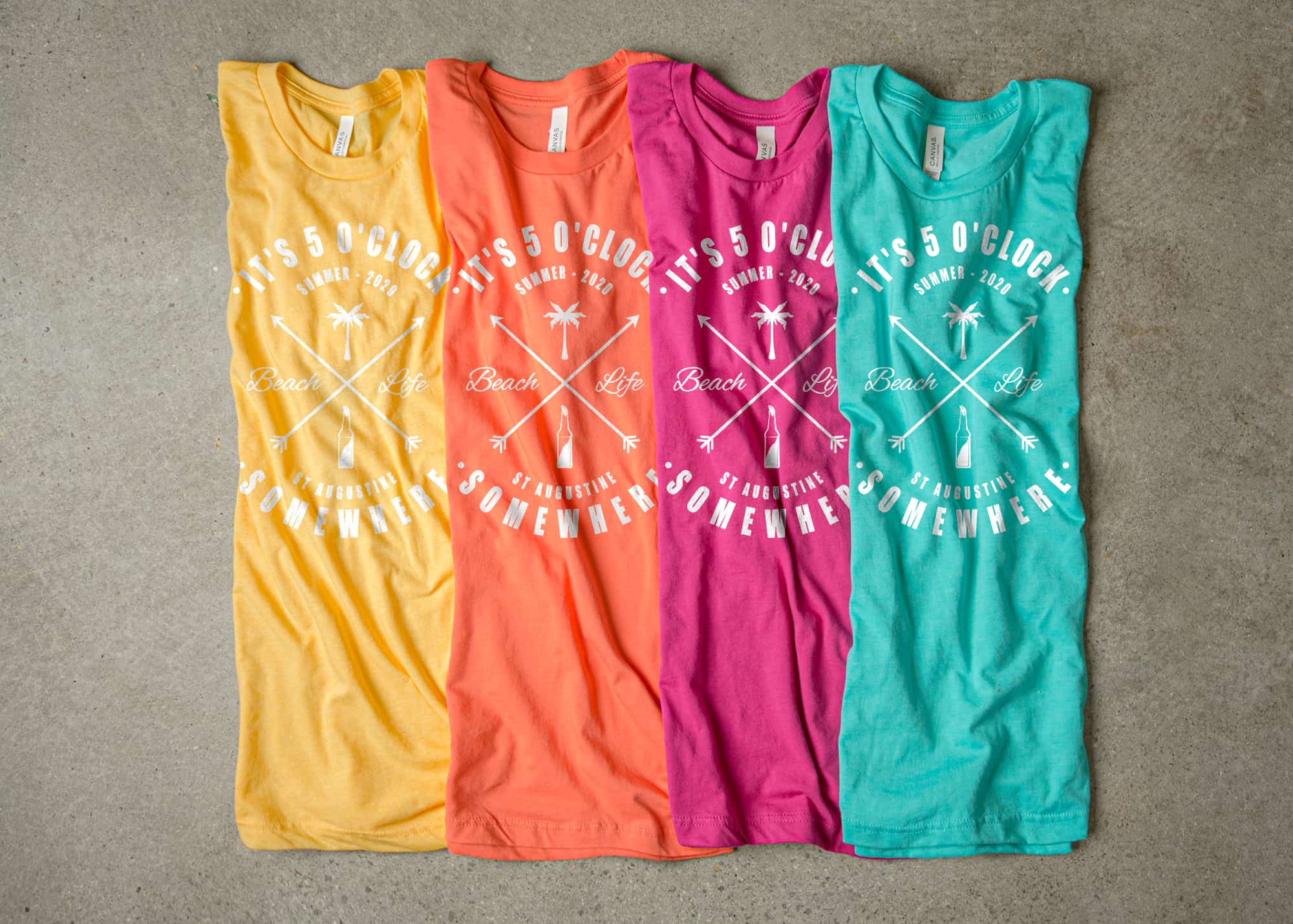 The tetradic color scheme made with an arrangement of t-shirts.