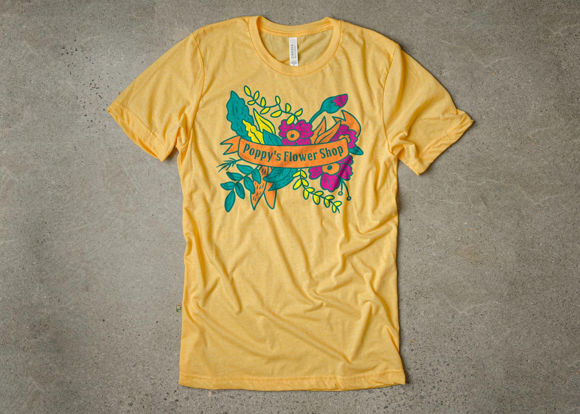 Our example tetradic color scheme t-shirt design.