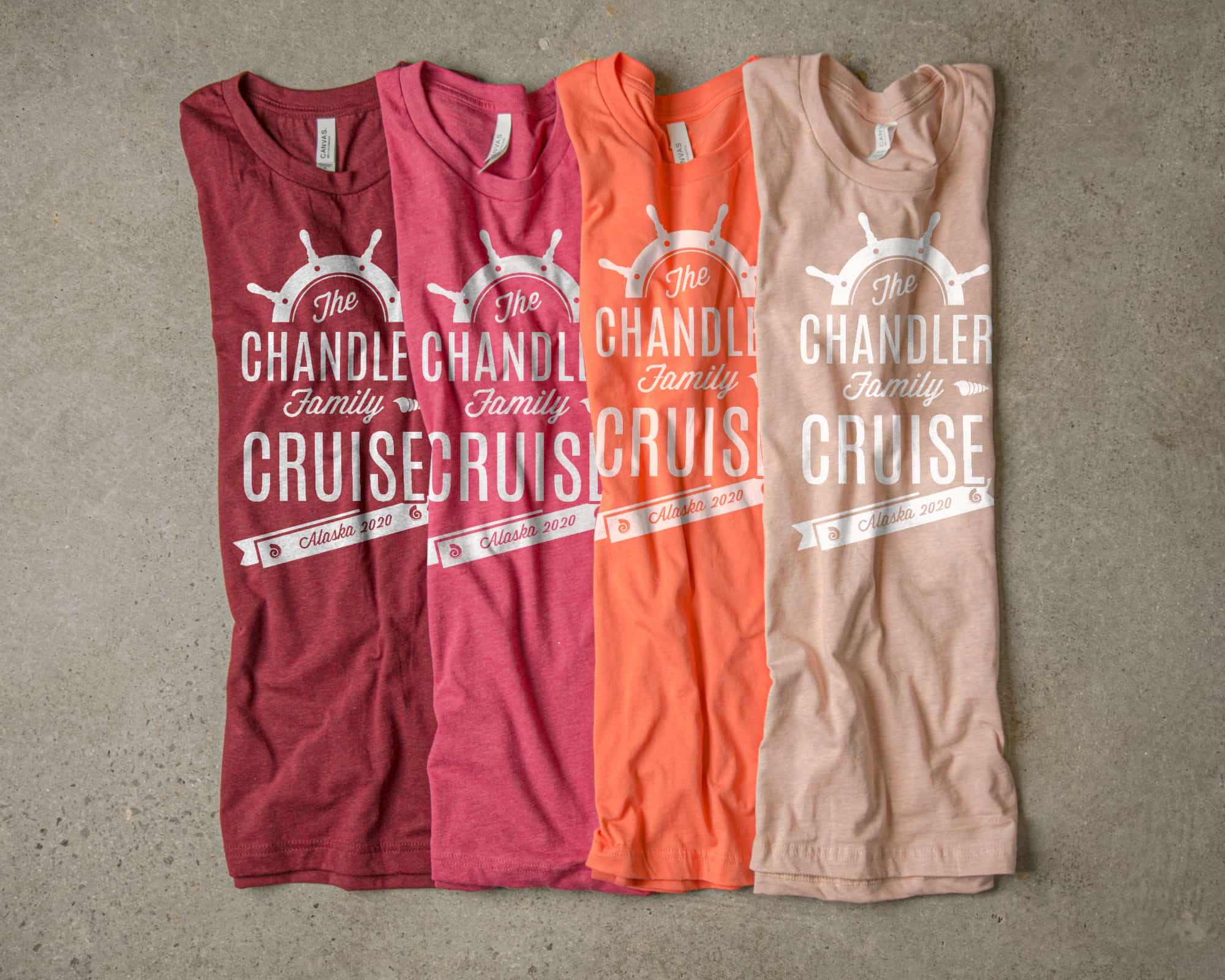 An analogous color scheme made with an arrangement of t-shirts.