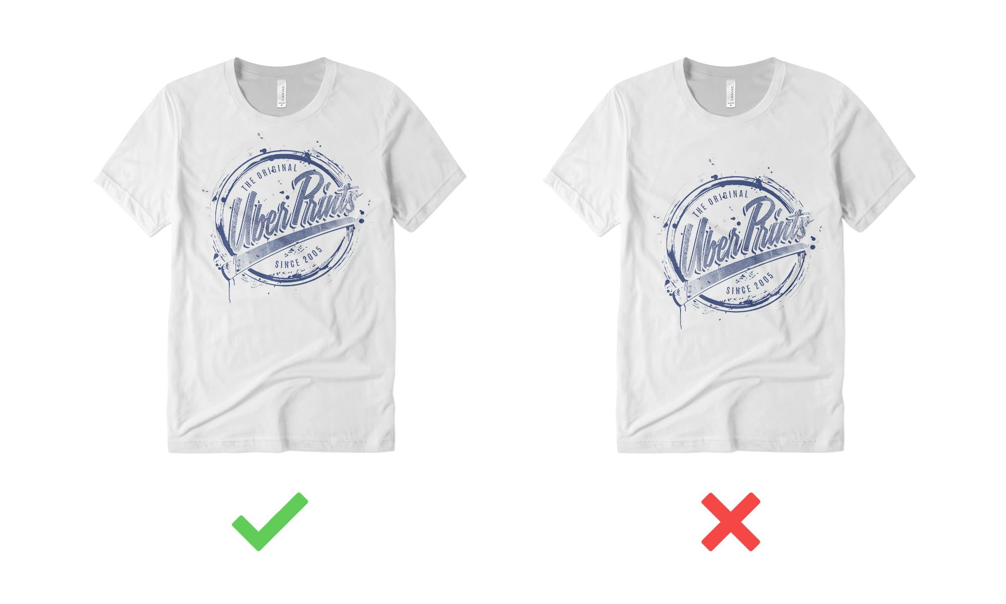 Example of t-shirt design placed too low.