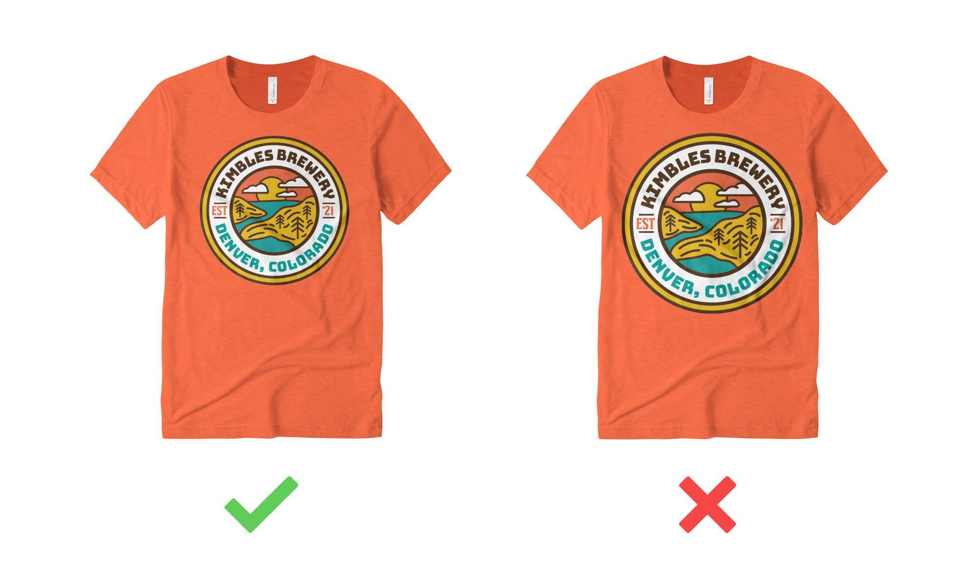 Example of sizing t-shirt design correctly.
