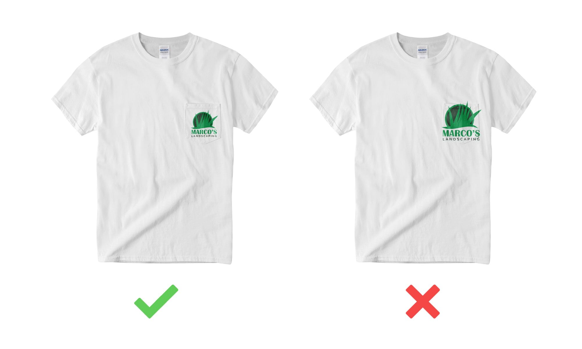 Example of t-shirt design when designing on a pocket.