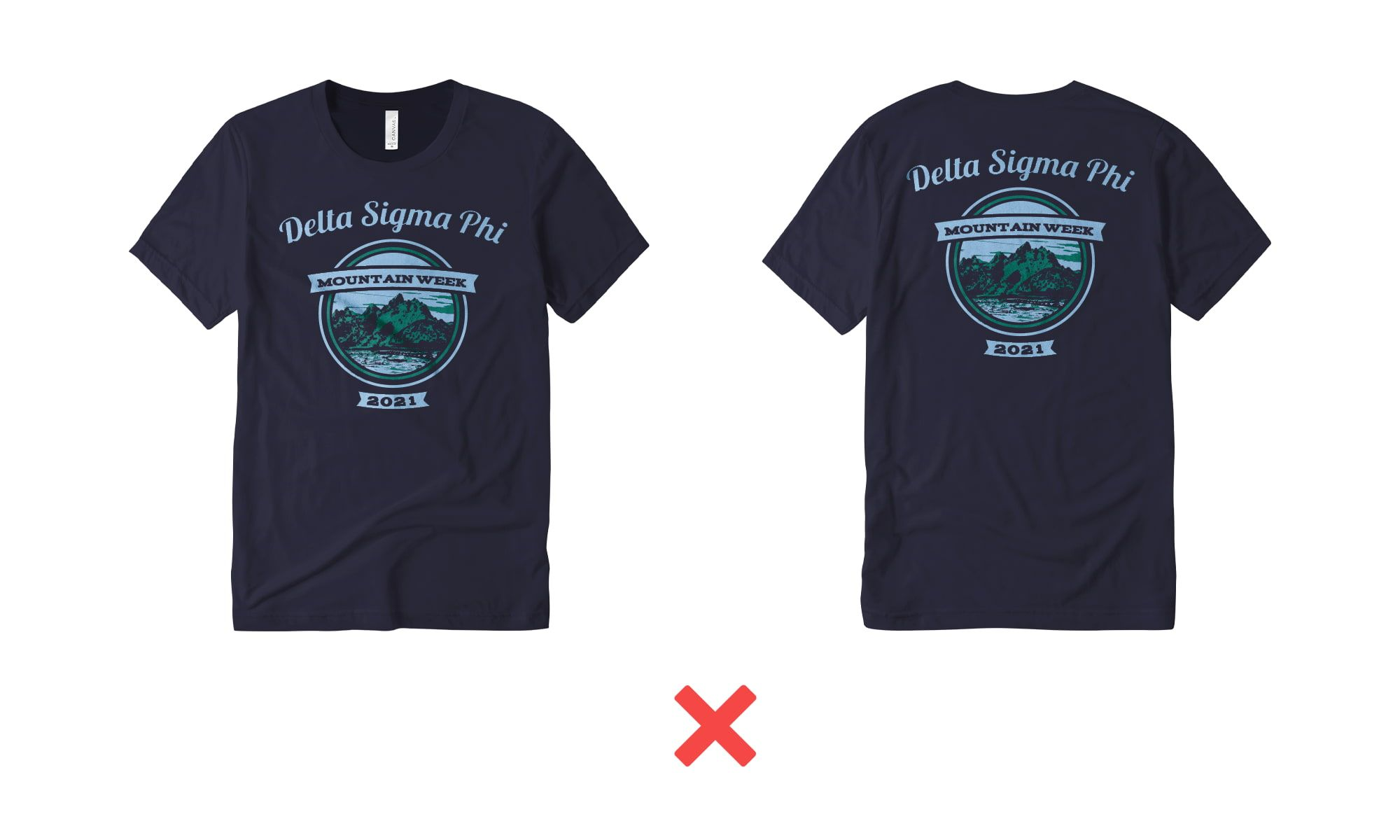 Example of t-shirt design with no variation in scale.