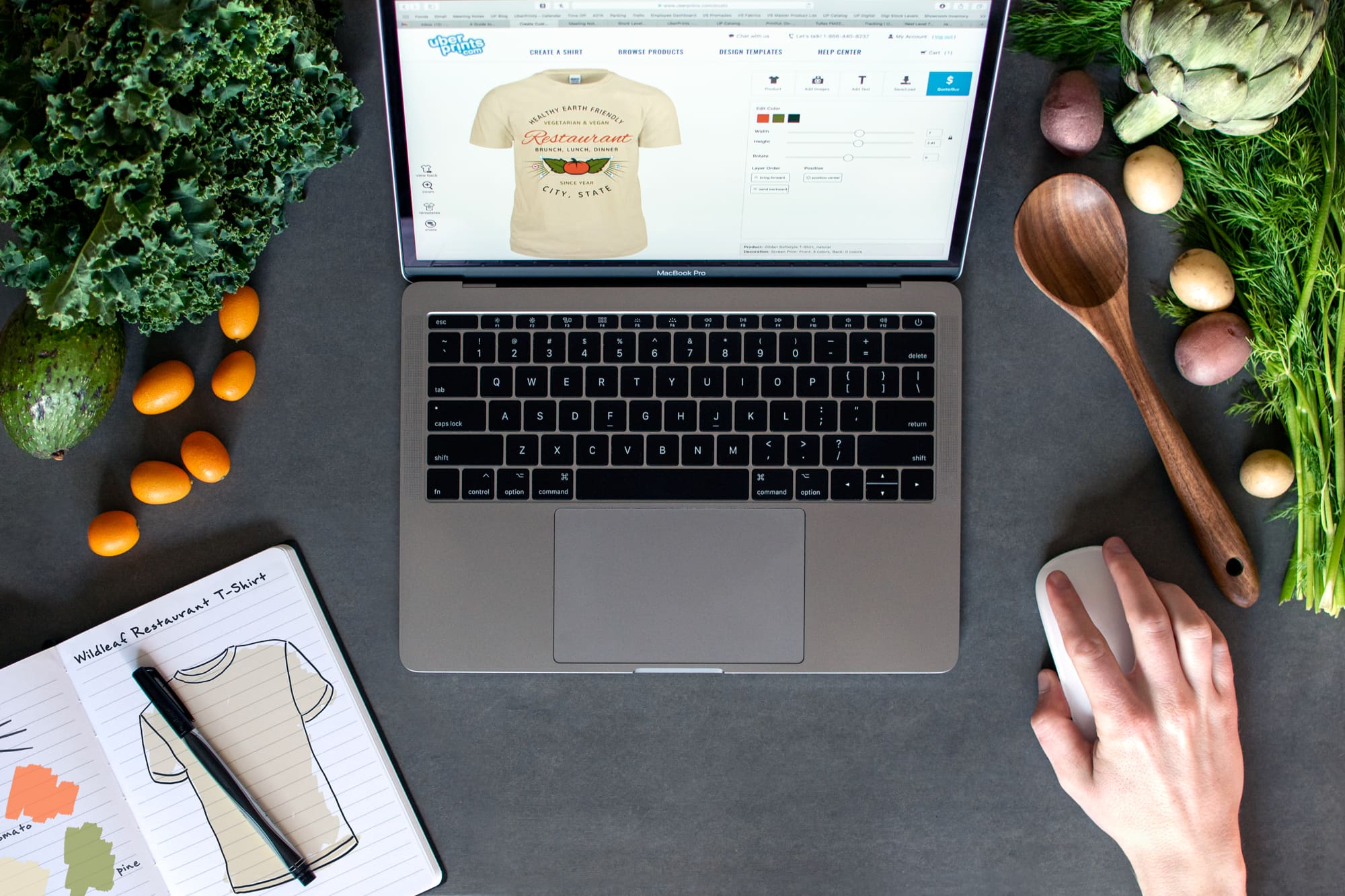 Image showing restaurant designing t-shirts on UberPrints.