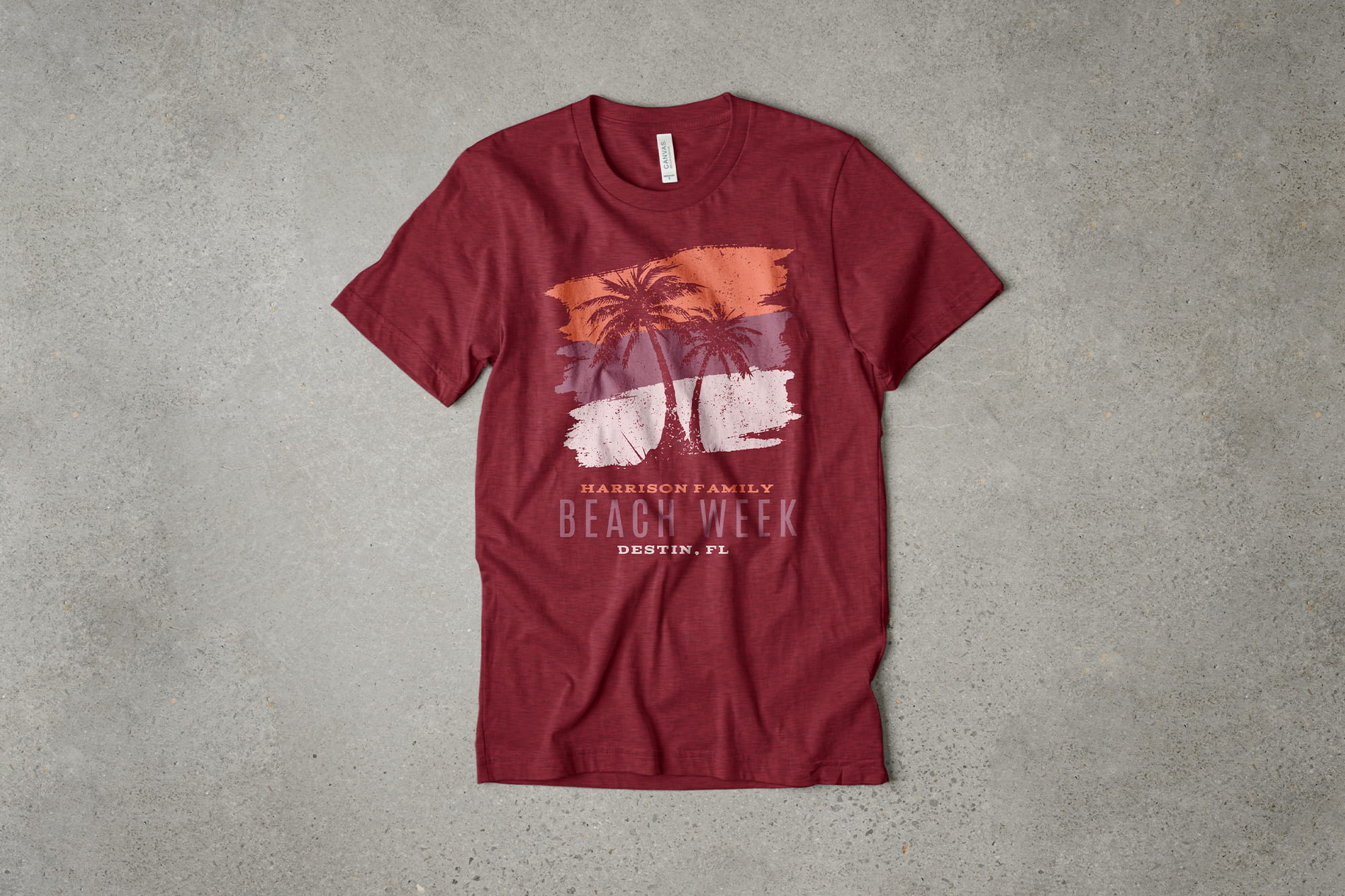 Example of t-shirt design using analogous colors.