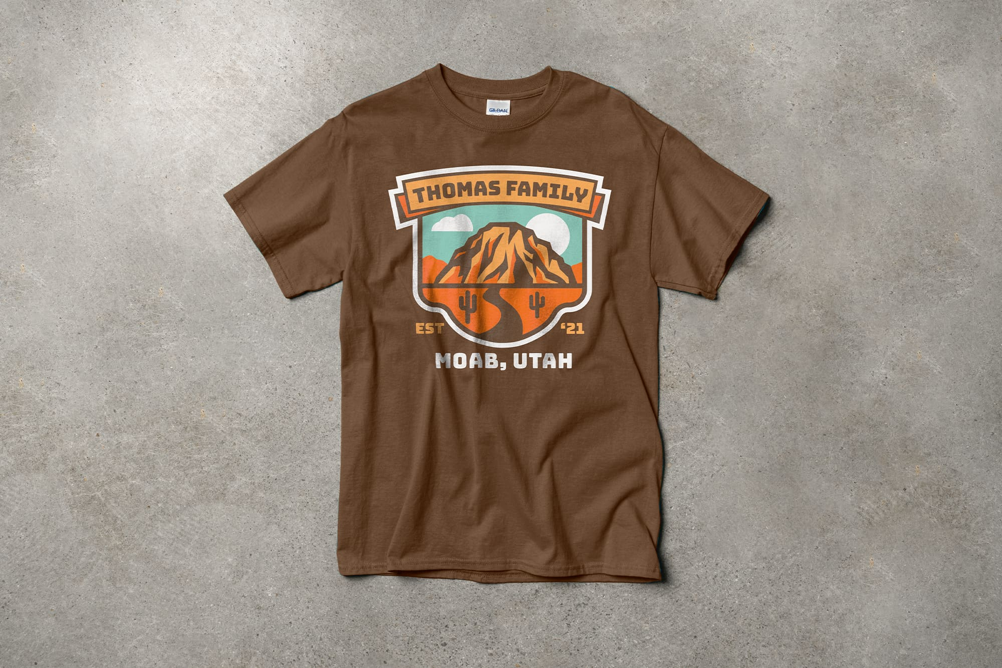 Example of t-shirt design that uses background shapes well.