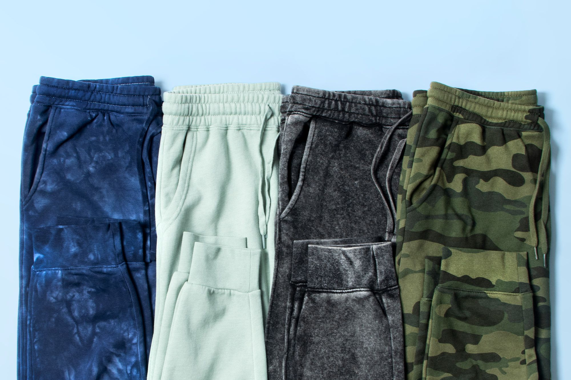 A close up image showing example of cuffed sweatpants.