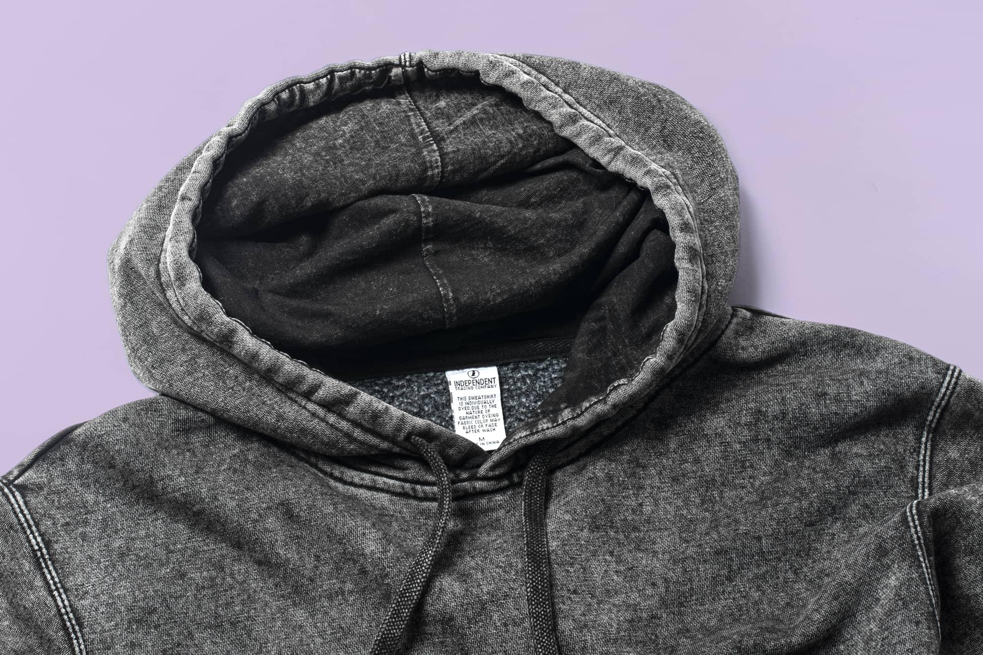 Close up look at mineral wash hoodie.