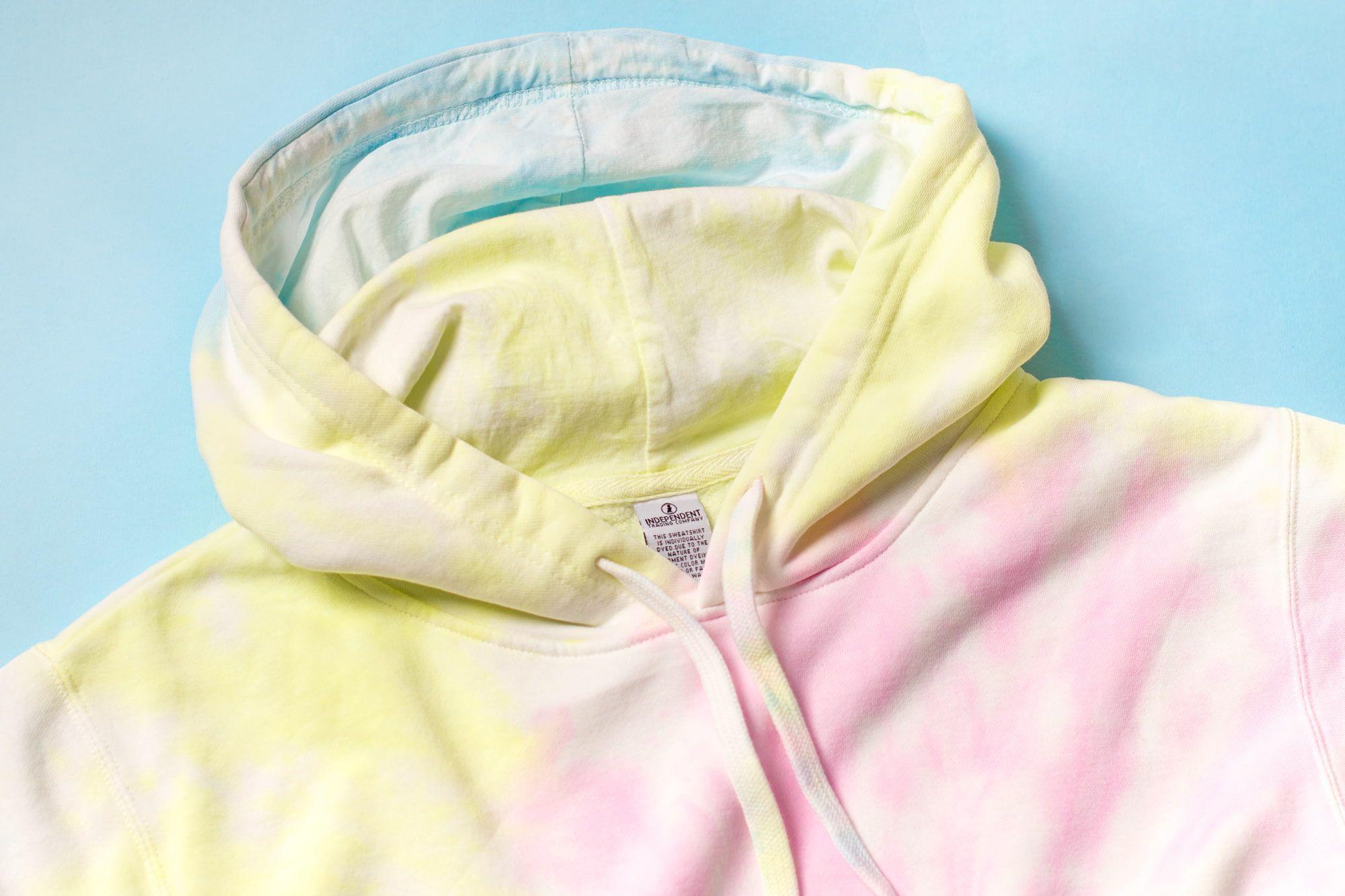Close up look at the tie-dye hoodie.