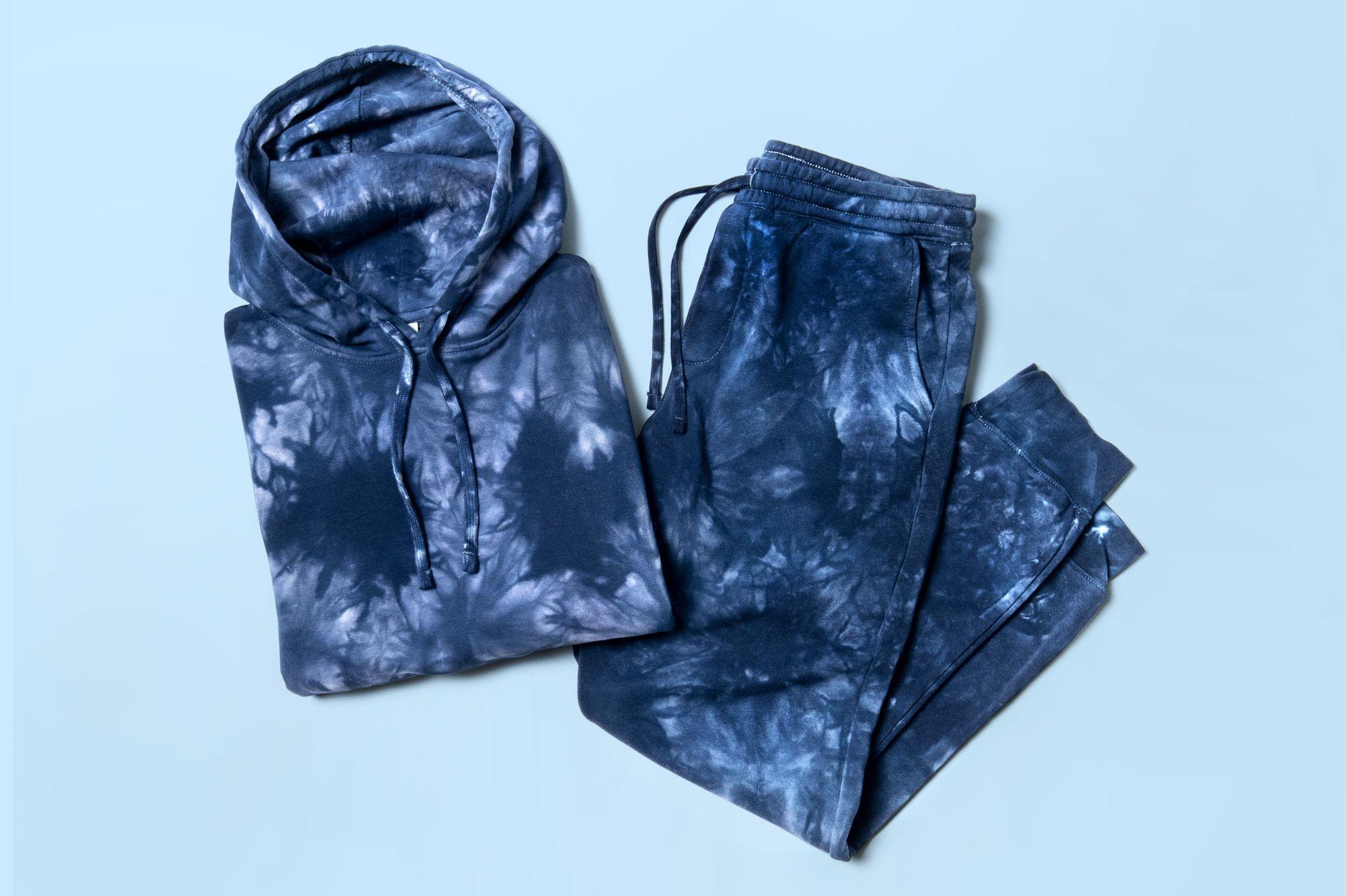 Flatlay image of tie-dye sweats.