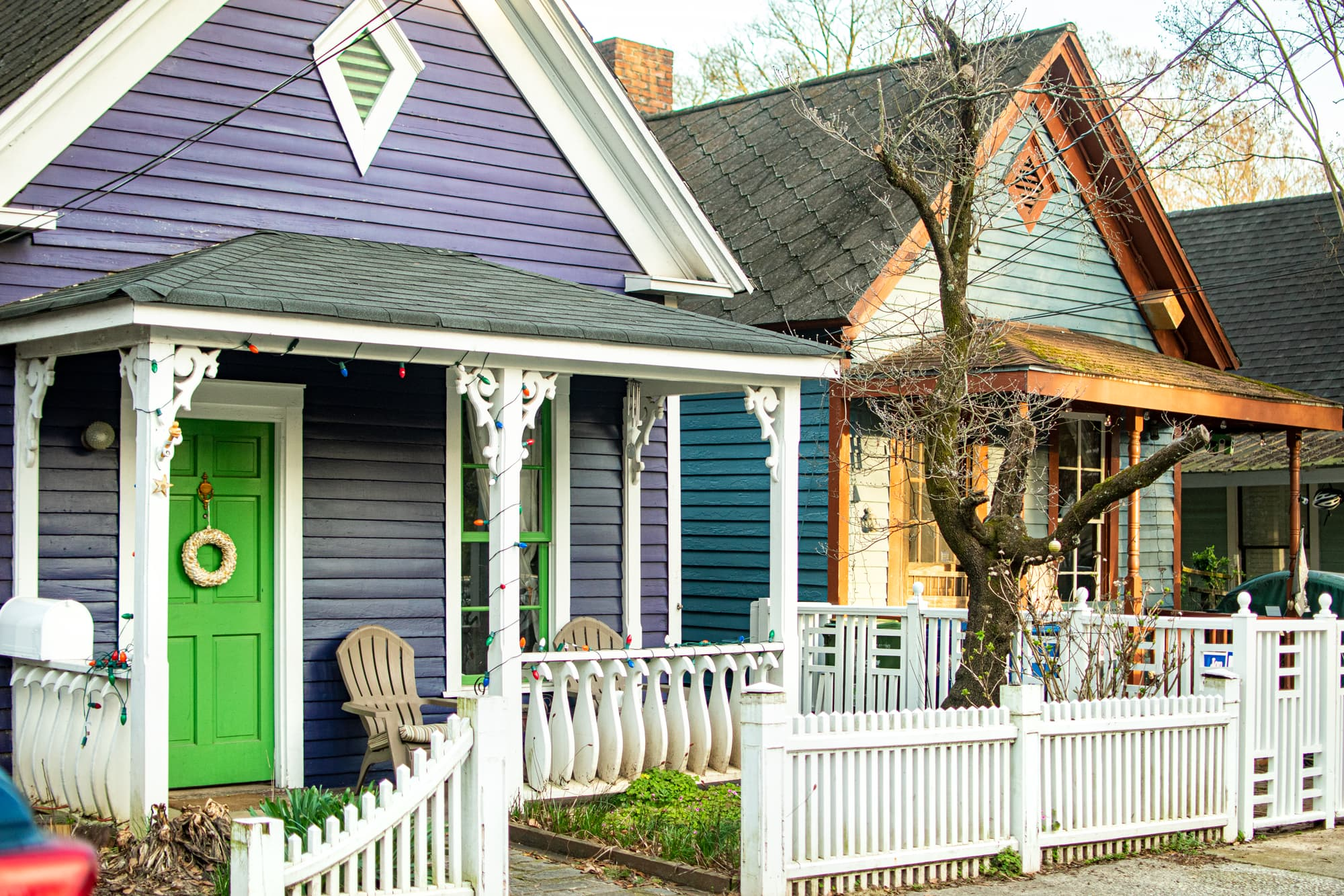 Photo of colorful homes on the streets of Cabbagetown.