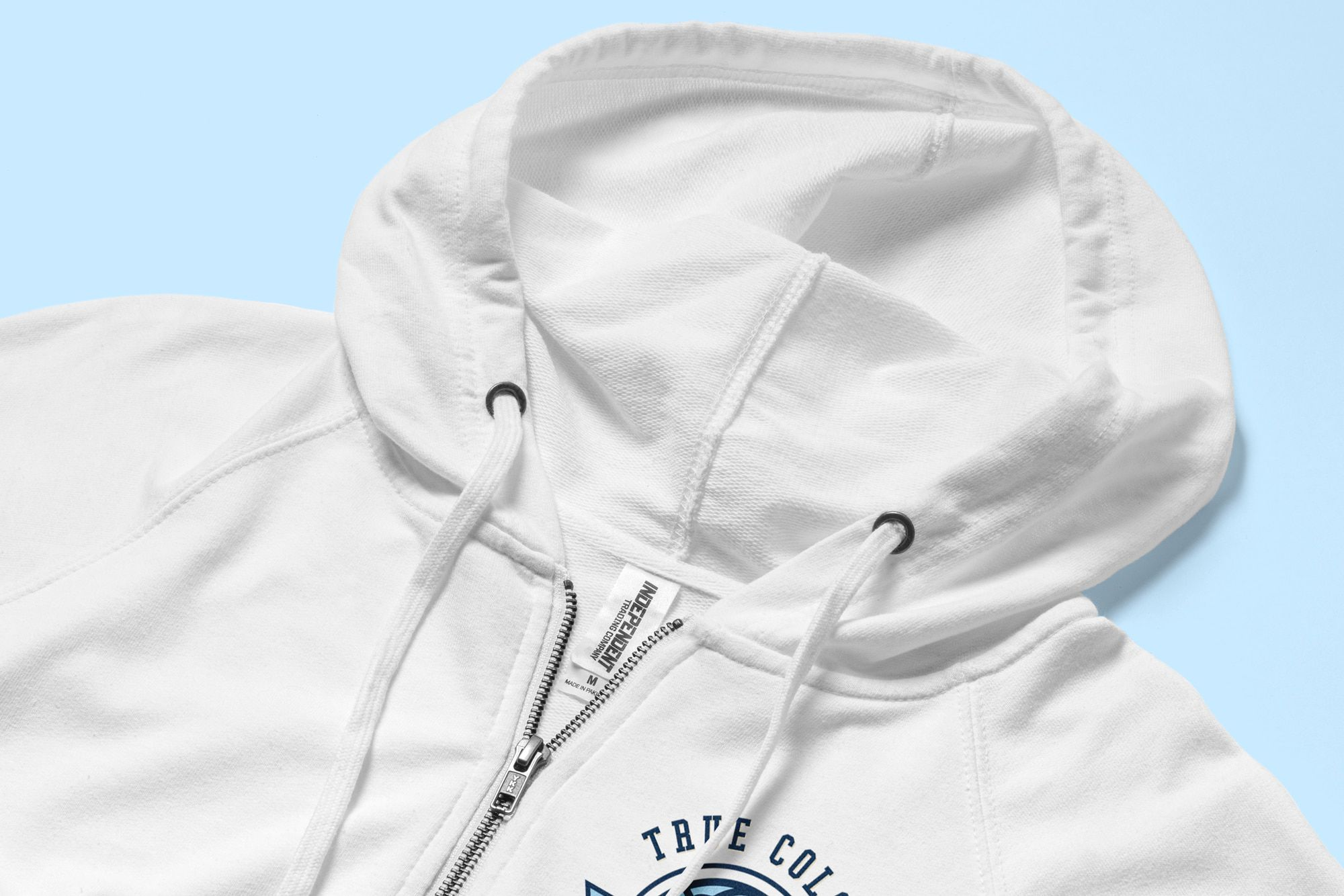 Detail of the zipper and drawstrings of the Independent Trading Lightweight Zip Up Hoodie.