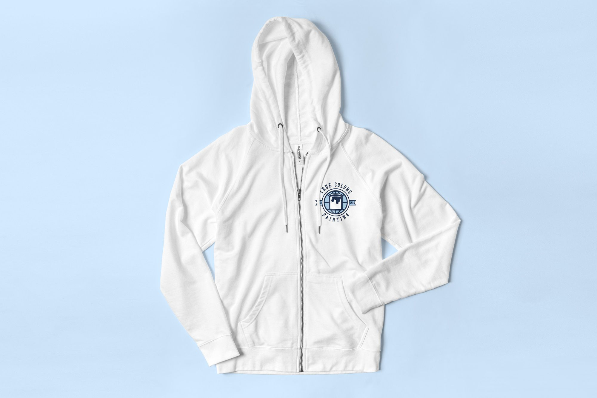 Flatlay of the Independent Trading lightweight Zip Up Hoodie showing a custom design for a painting company on the left chest.