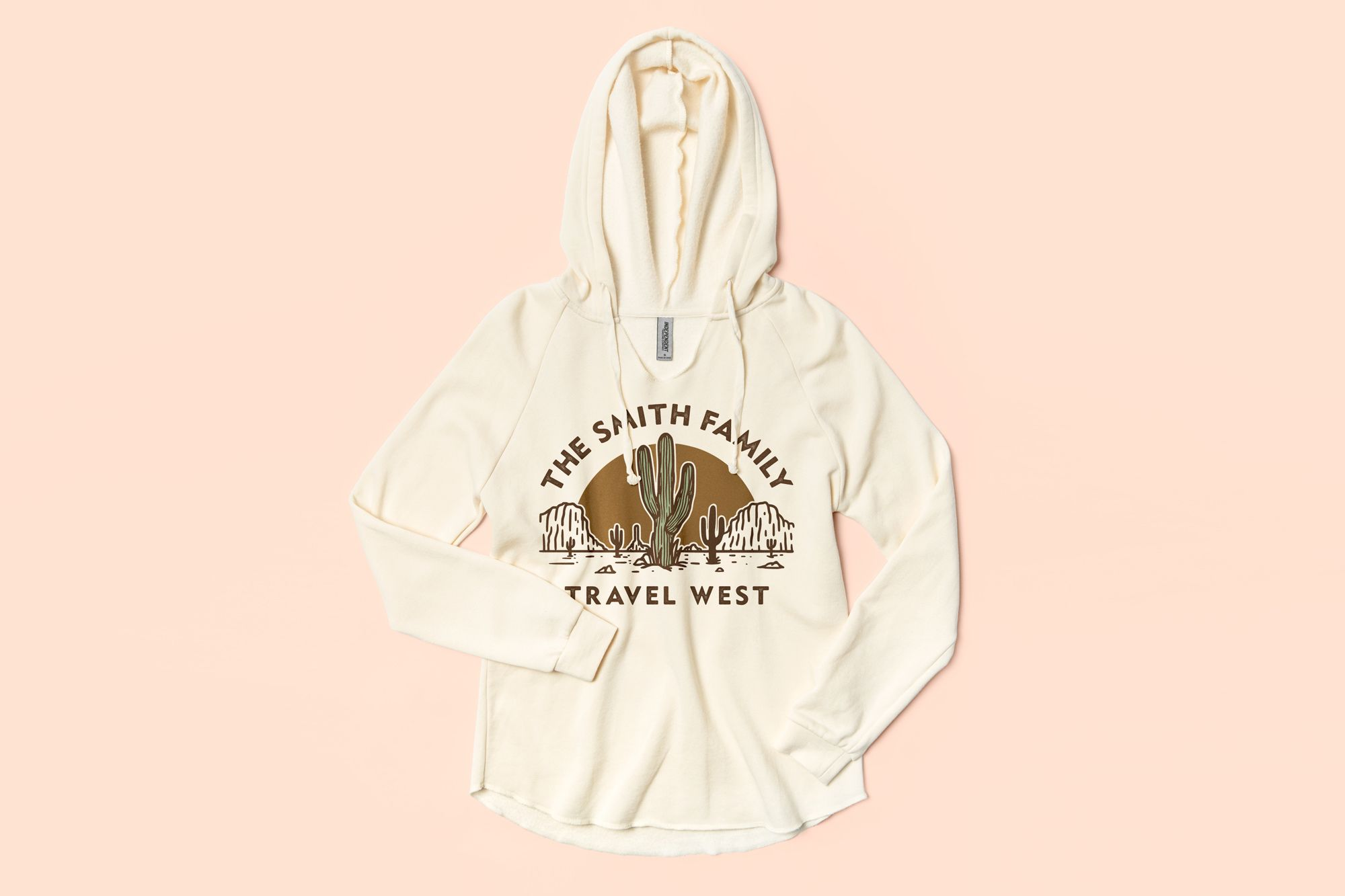 Flatlay of the Independent Trading Ladies Lightweight Hooded Pullover featuring a custom family vacation design.