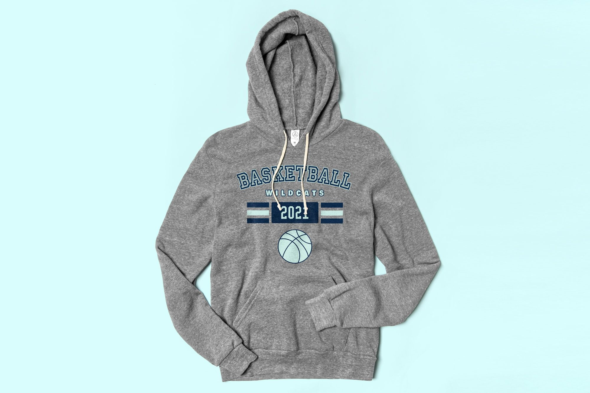 Flatlay of the Alternative Apparel Challenger Hooded Pullover showing a custom basketball team design.