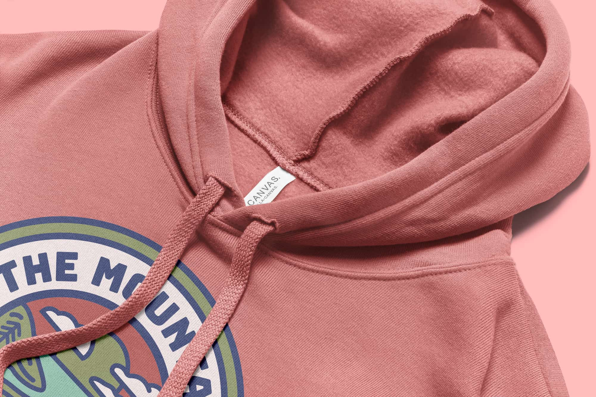 Detail of the hood and drawstrings of the Bella Canvas Sponge Fleece Pullover Hoodie.