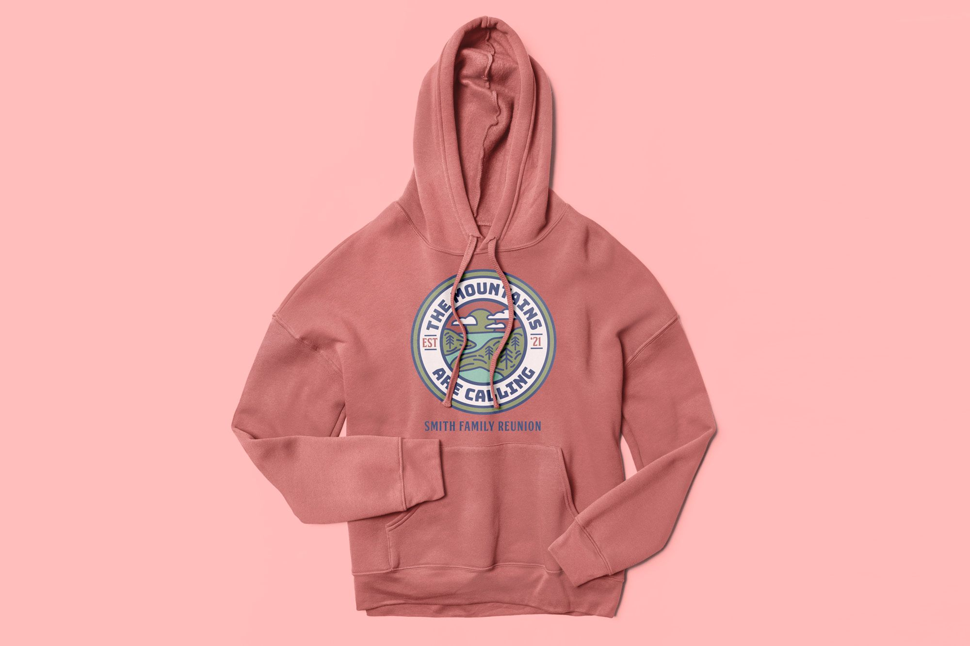 Flatlay of the Bella Canvas Sponge Fleece Pullover Hoodie with a custom family reunion design.
