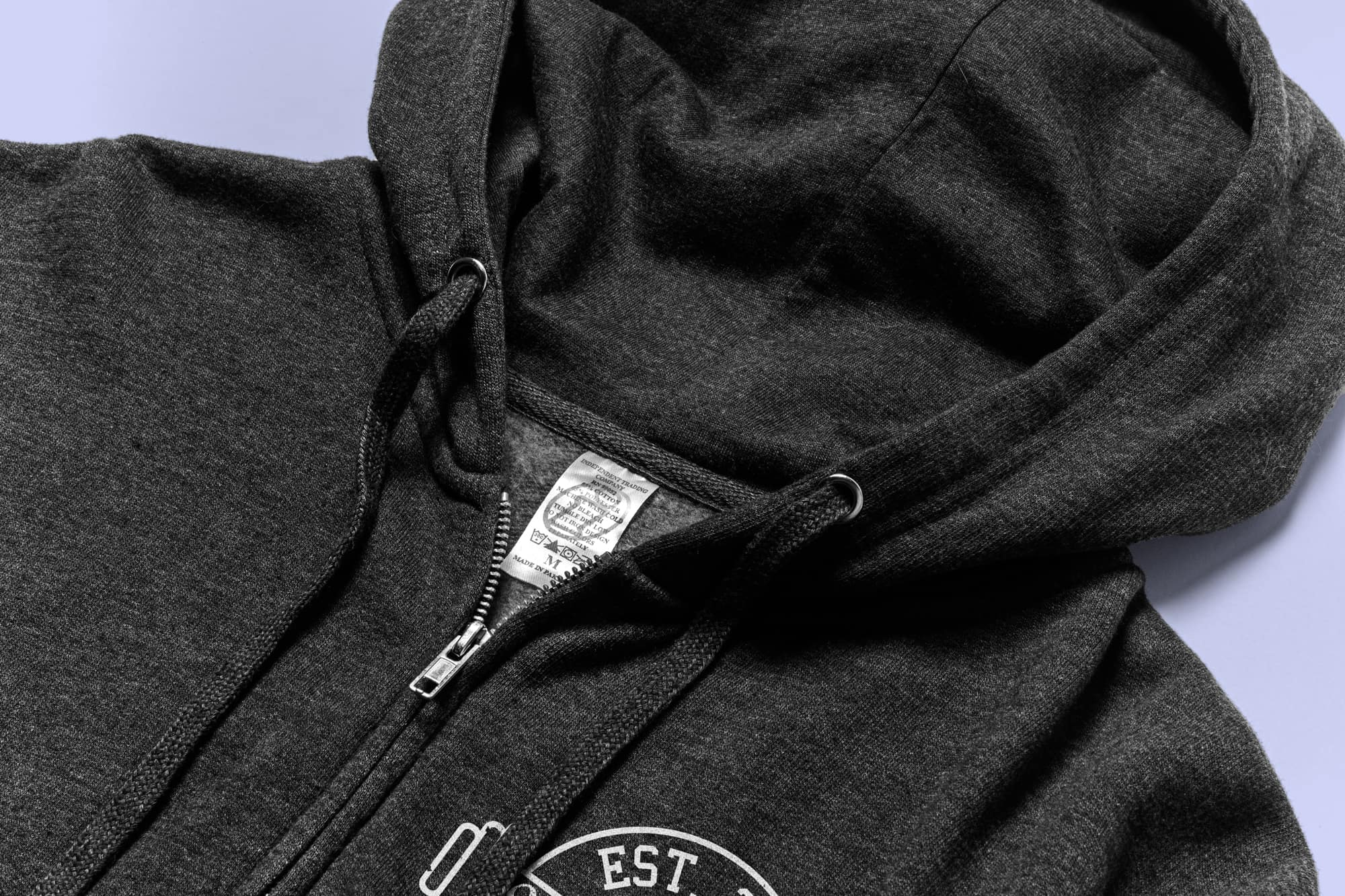 Detail showing the hood and zipper of the Independent Trading Zip Up Hoodie.