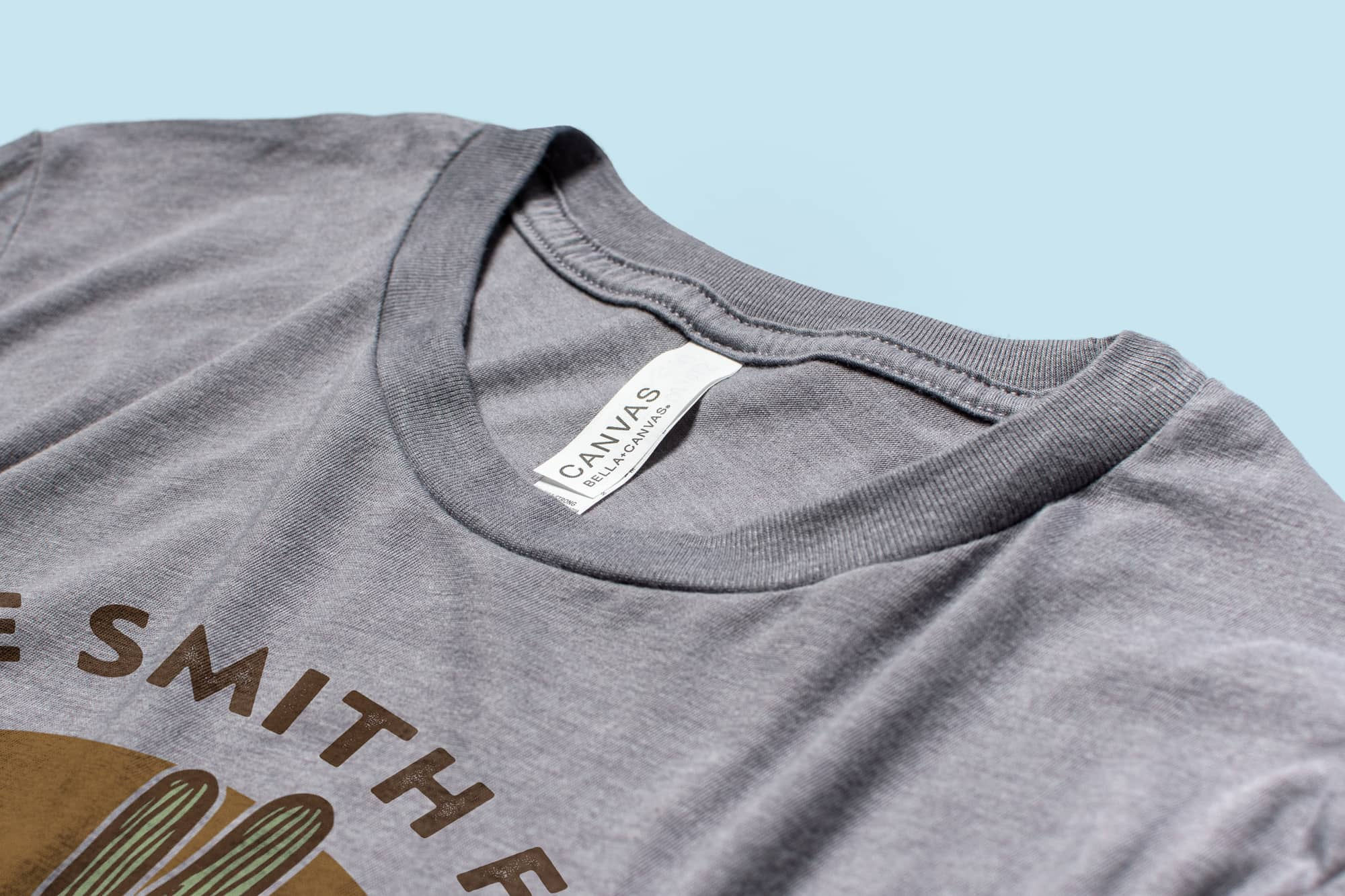 Detail of the collar of the Bella Canvas Triblend Jersey T-Shirt.