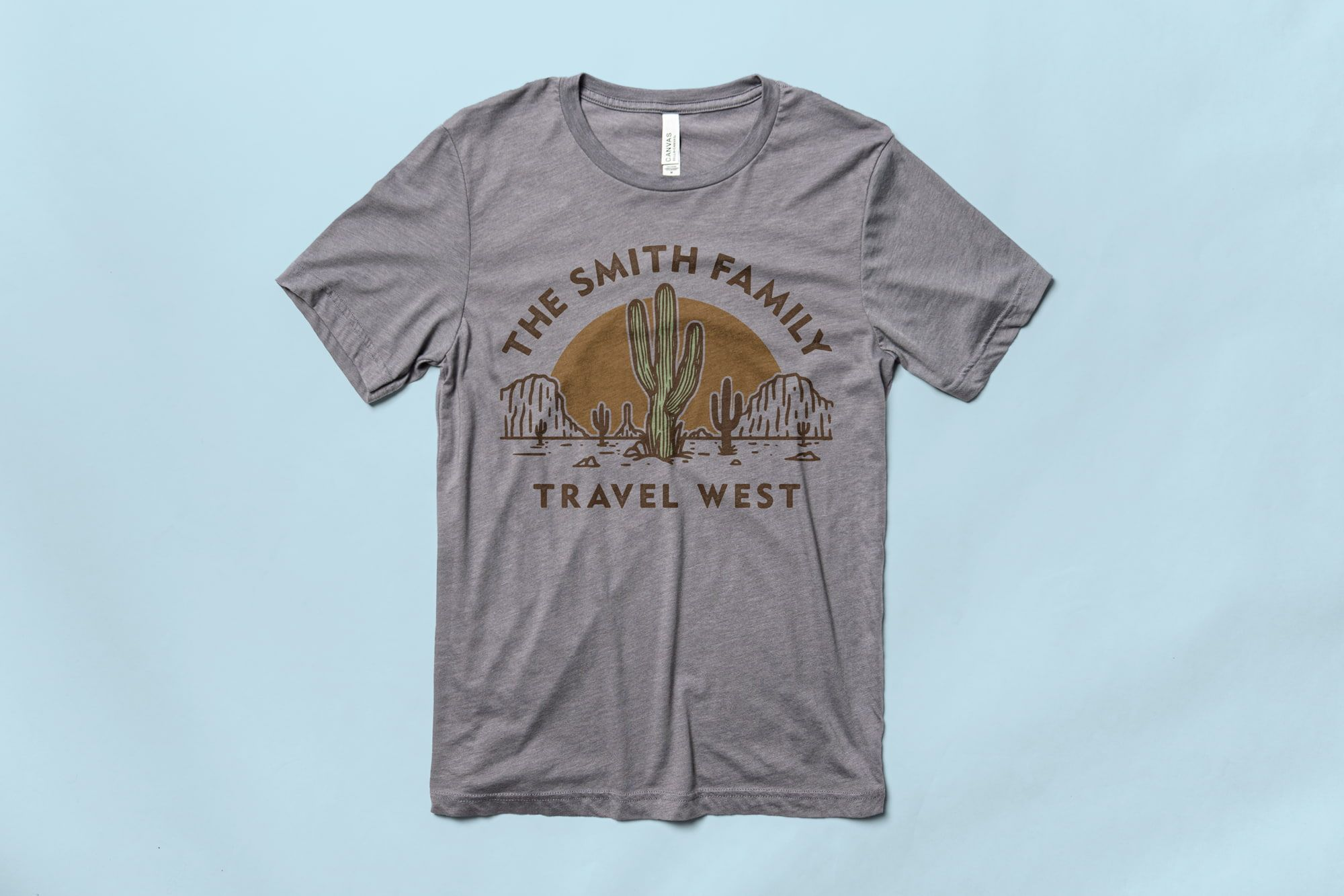 Flatlay of the Bella Canvas Triblend Jersey T-Shirt with a custom family vacation shirt design.
