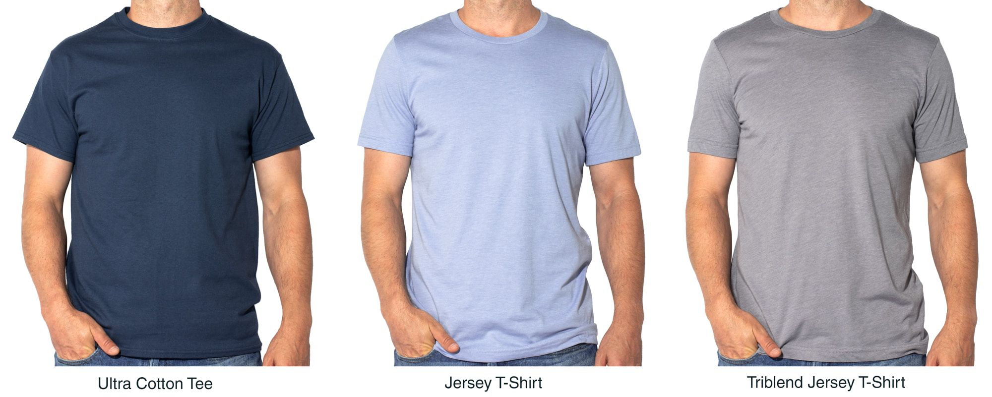 Product lineup comparing the fit of the Gildan Ultra Cotton Tee, the Bella Canvas Jersey T-Shirt, and the Bella Canvas Triblend Jersey T-Shirt.
