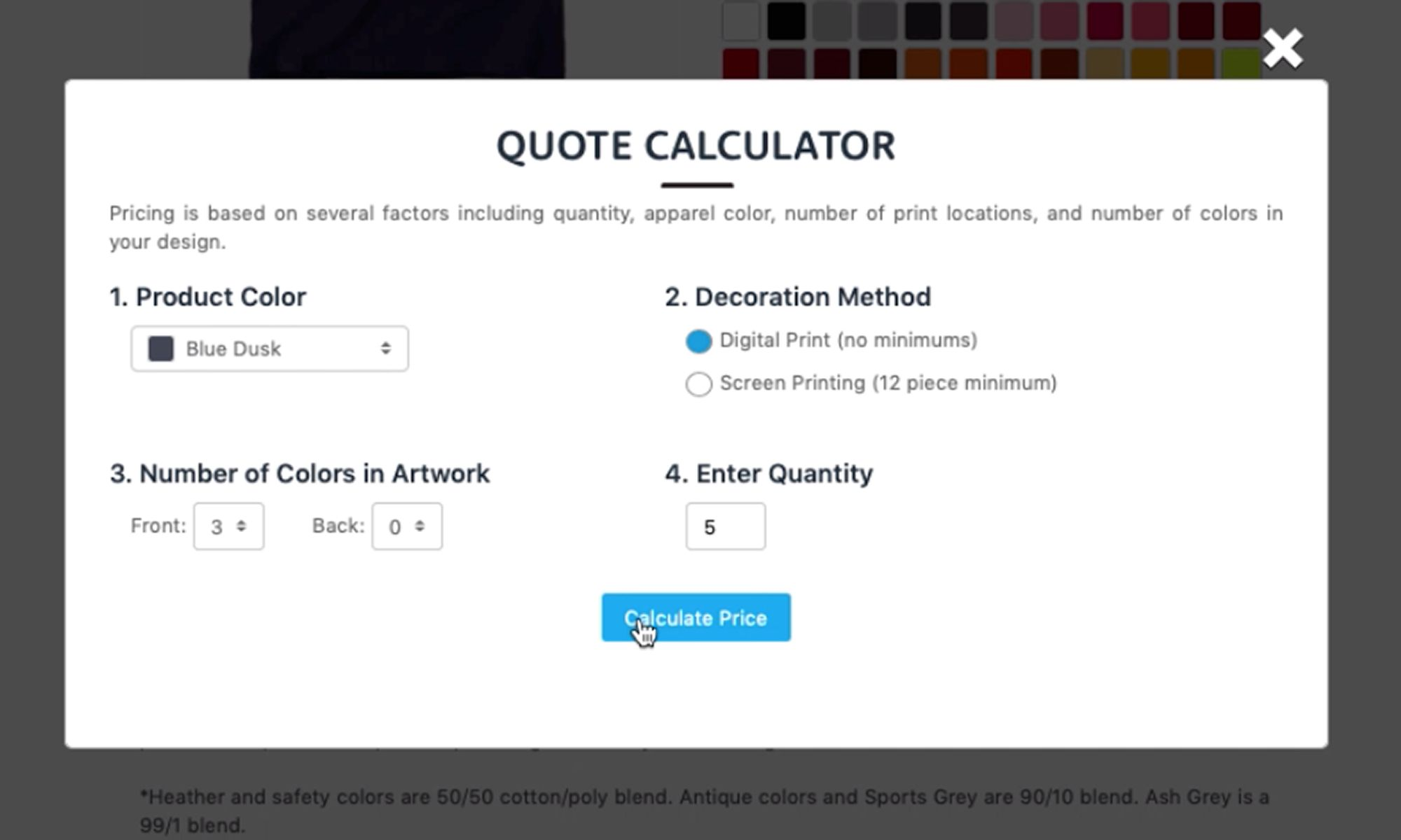 Screenshot from Uberprints.com showing an example of how to use the quote calculator.
